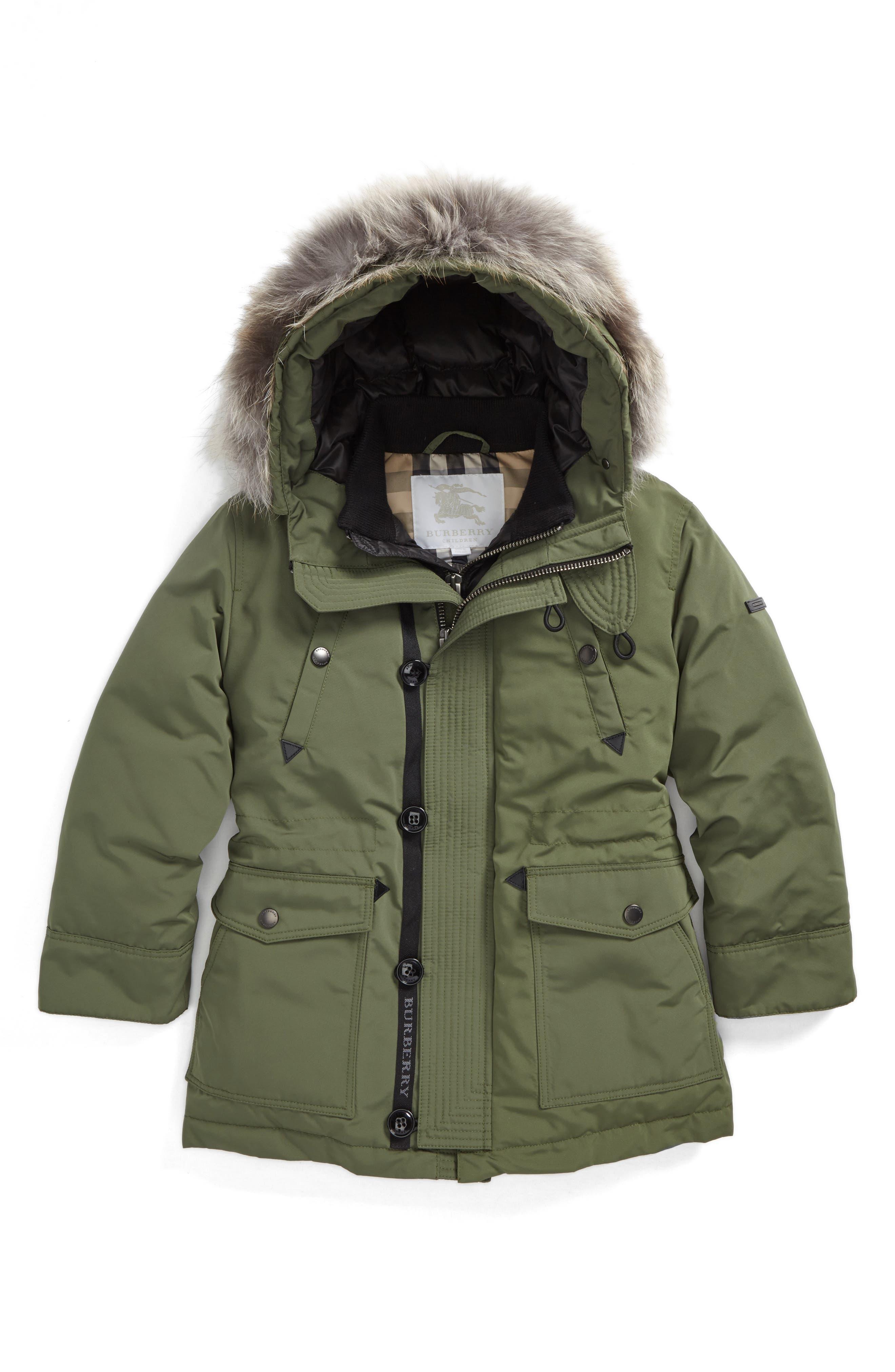 Main Image - Burberry Elliott Genuine Fox Fur Down Jacket (Little Boys & Big Boys)