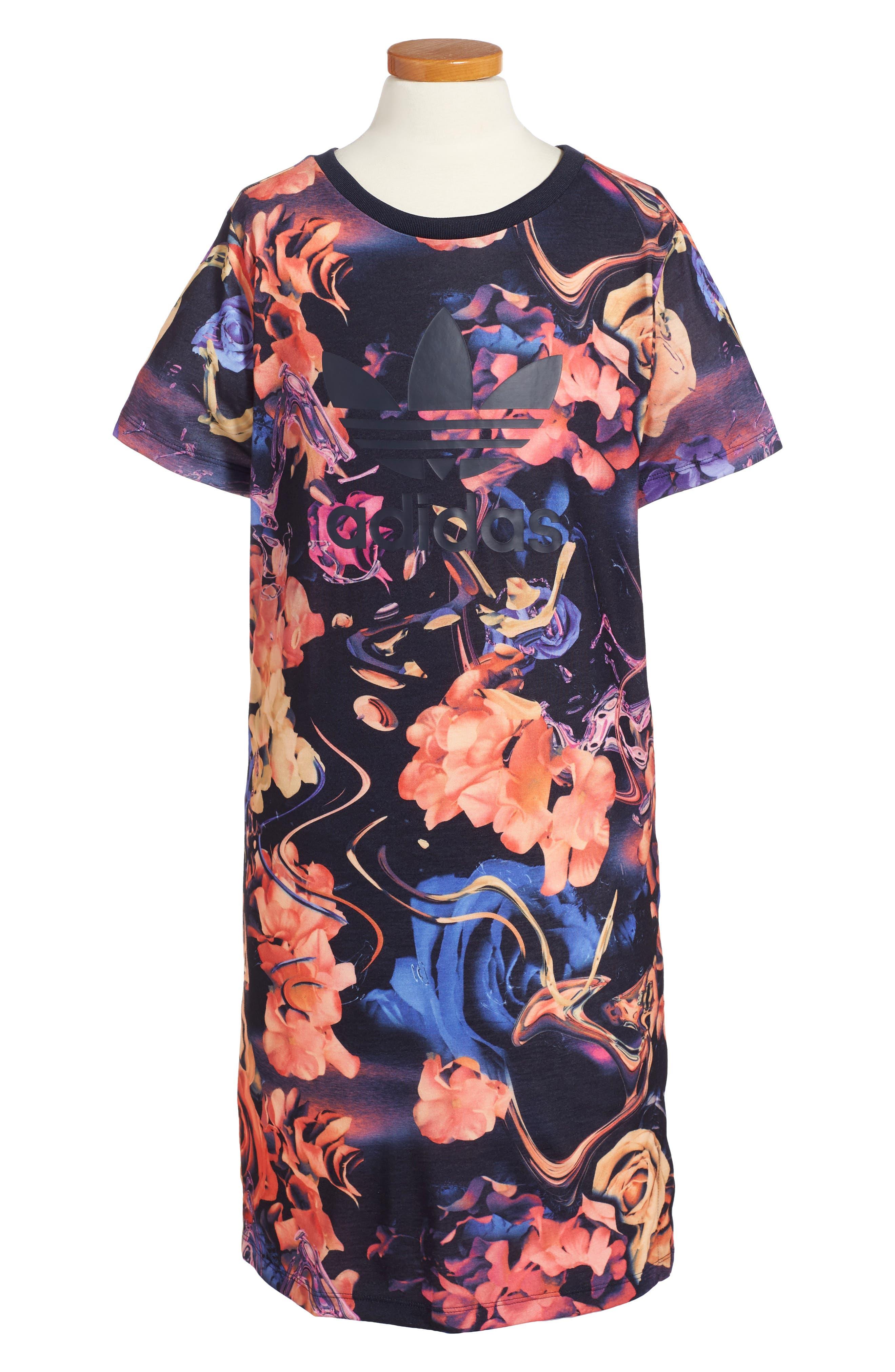 Rose Print T-Shirt Dress,                         Main,                         color, Multicolor/ Legend Ink