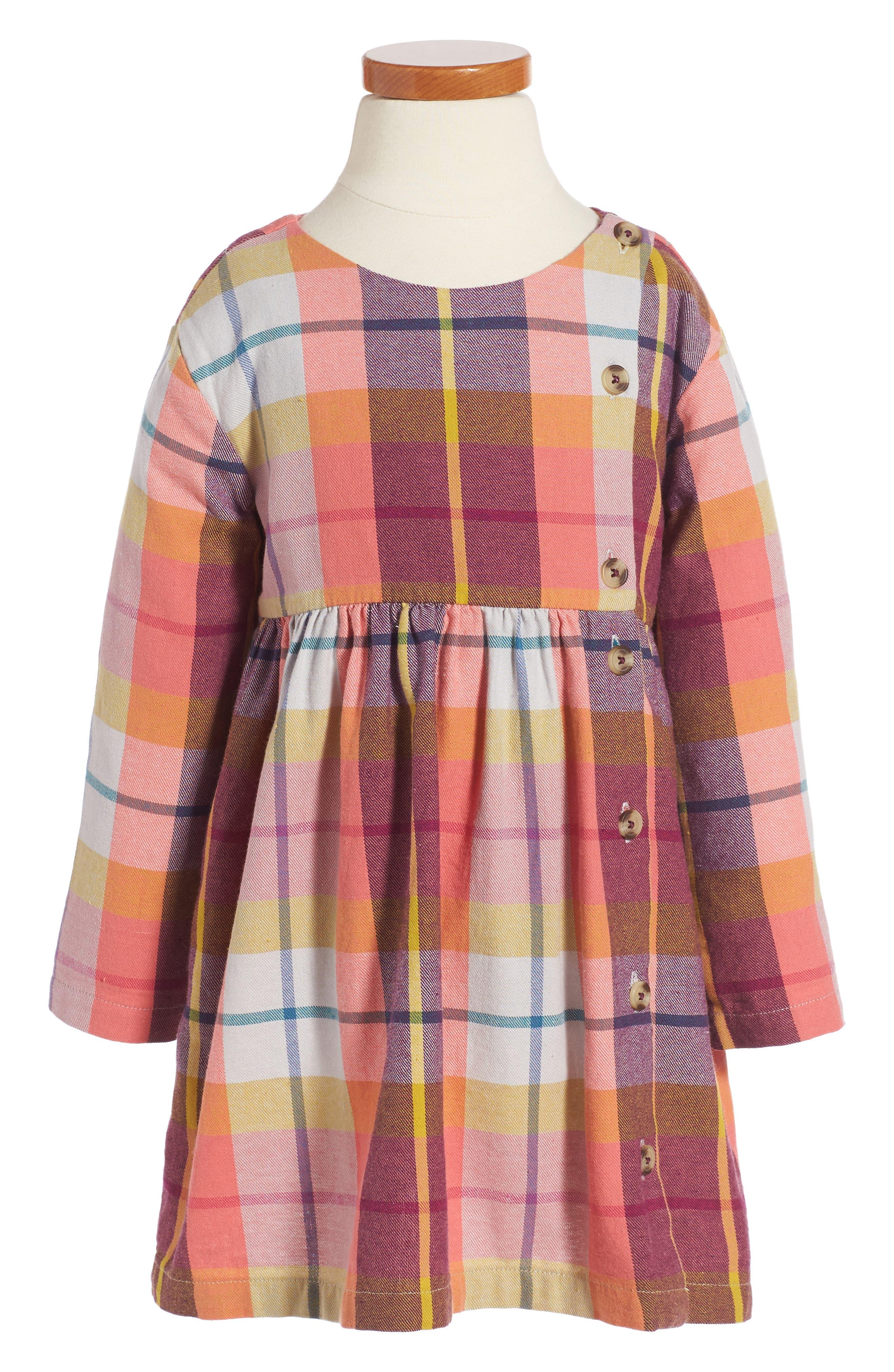 Plaid Flannel Dress,                         Main,                         color, Orange Buoy