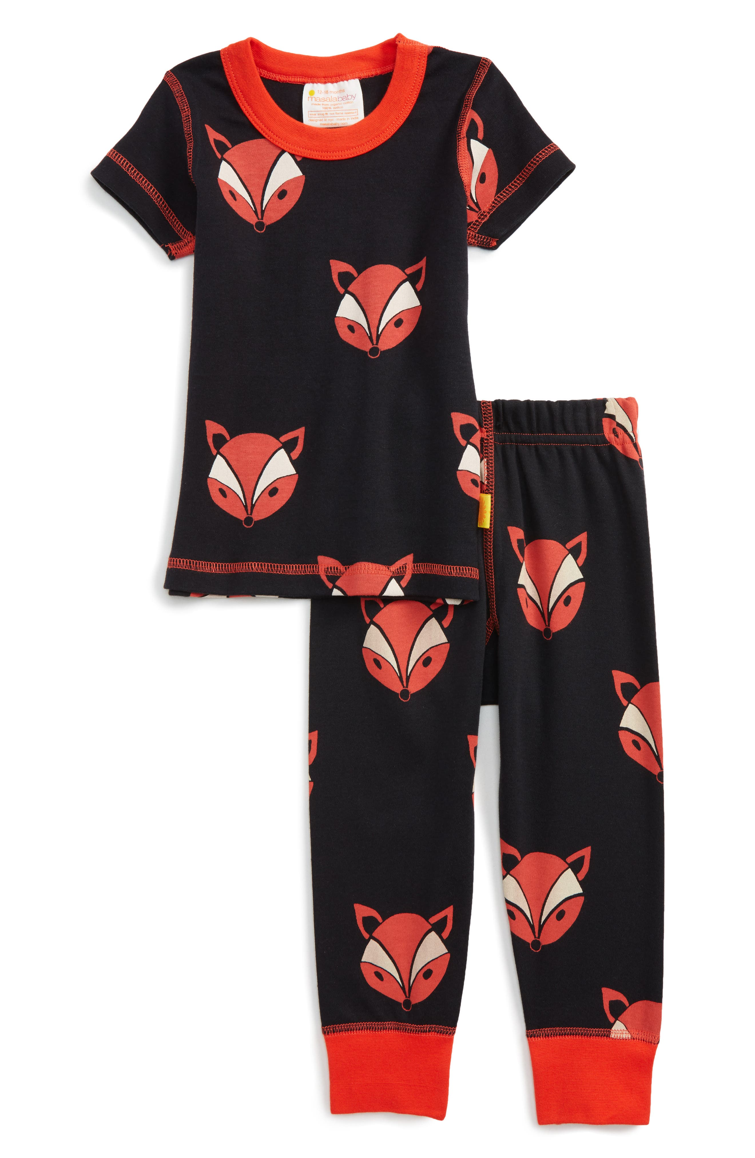 Main Image - Masasla Baby Fox Organic Cotton Fitted Two-Piece Pajamas (Baby)