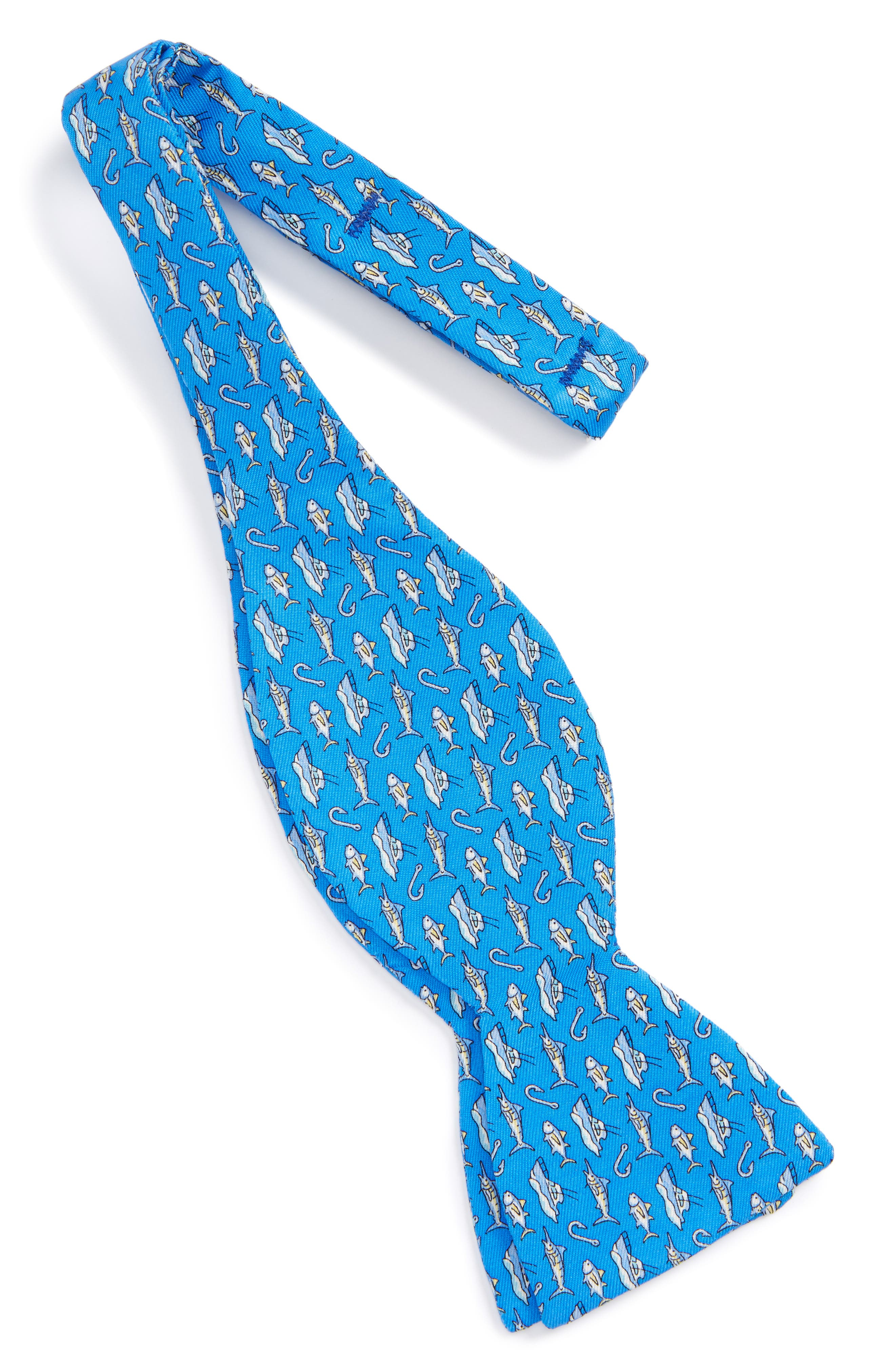 Coastal Fishing Silk Bow Tie,                             Alternate thumbnail 2, color,                             Royal Blue