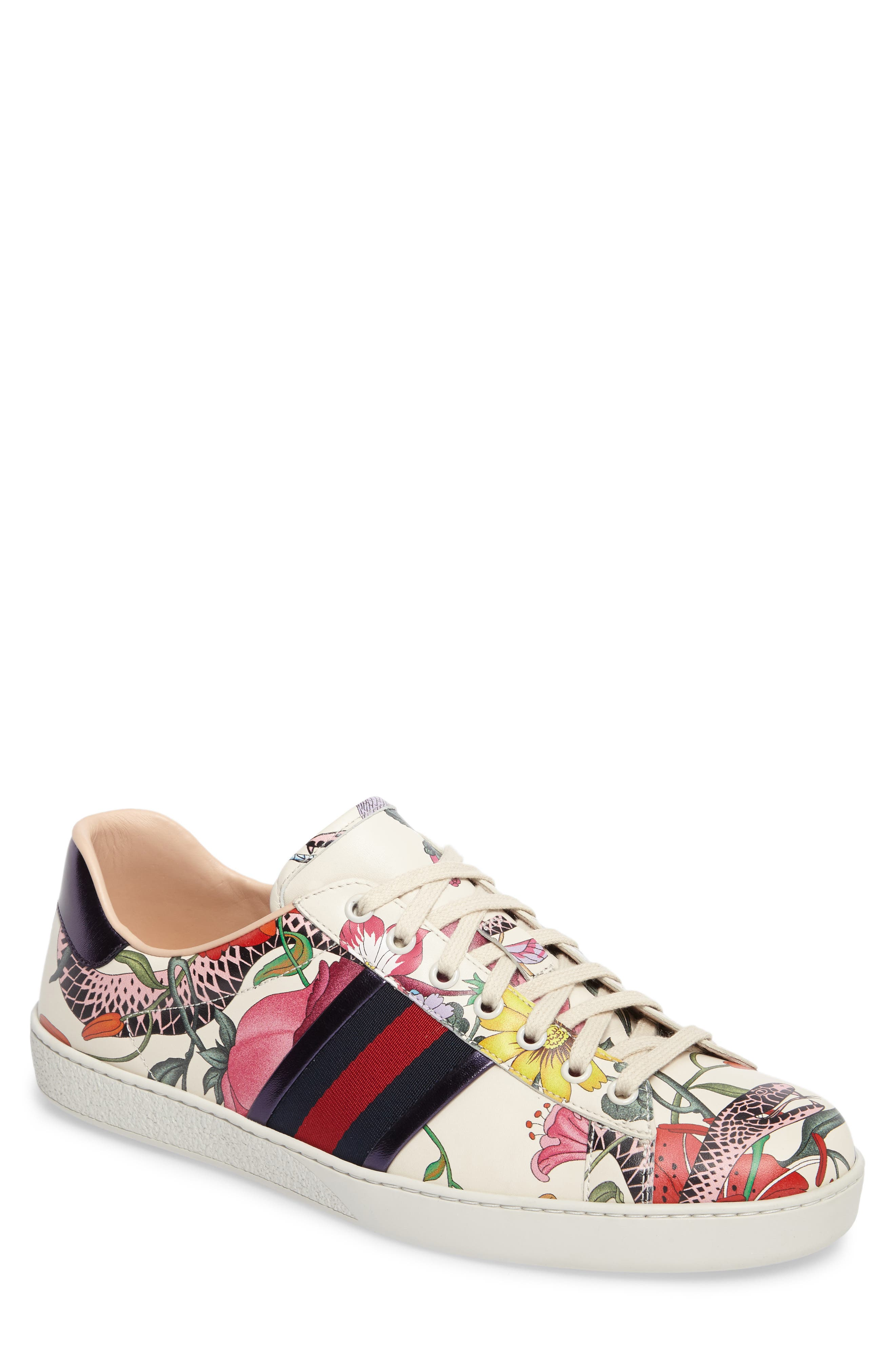 Alternate Image 1 Selected - Gucci New Ace Floral Dino Sneaker (Men)