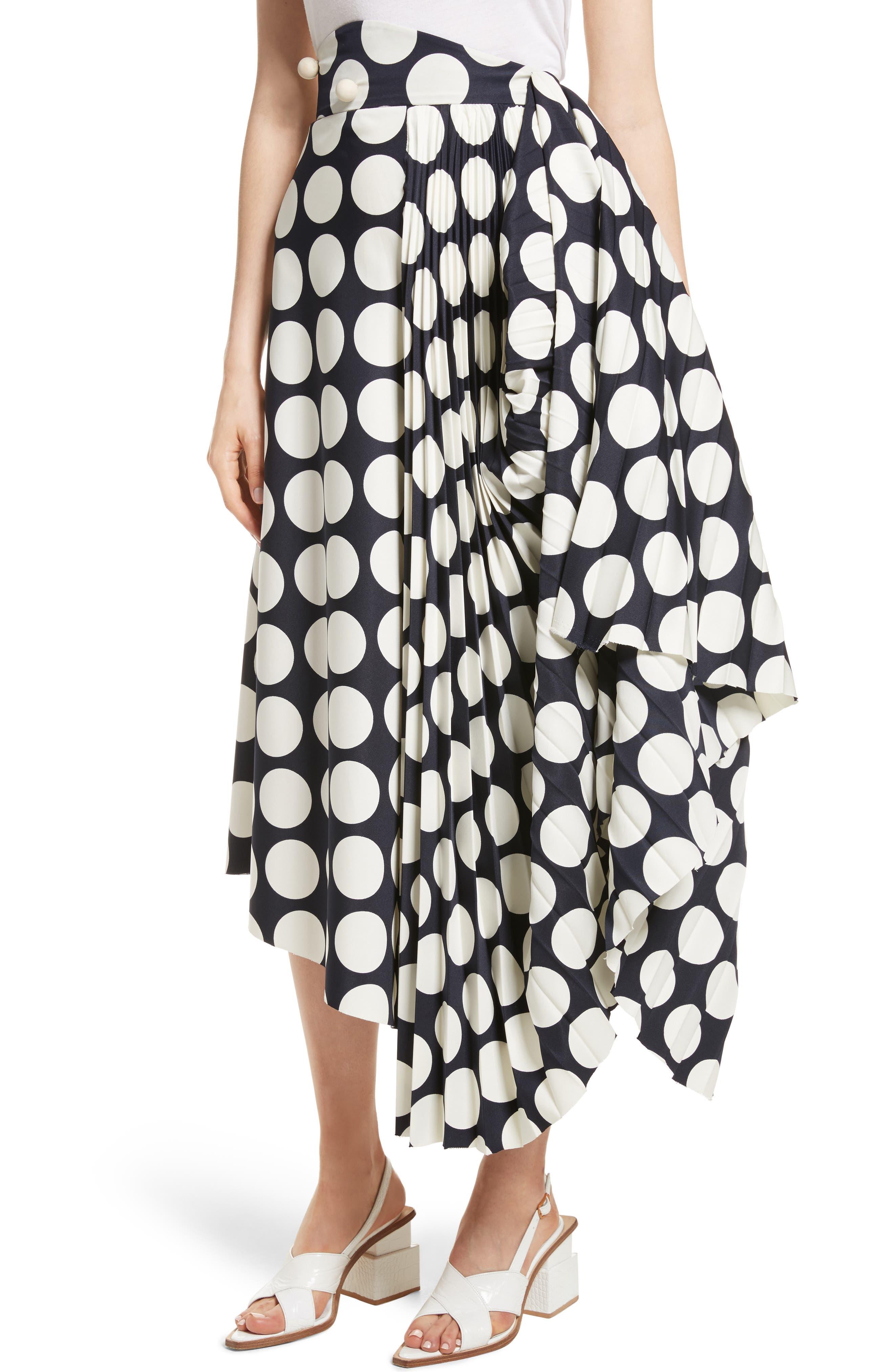 Giant Polka Dot Pleated Skirt,                             Alternate thumbnail 6, color,                             Navy/ Off-White