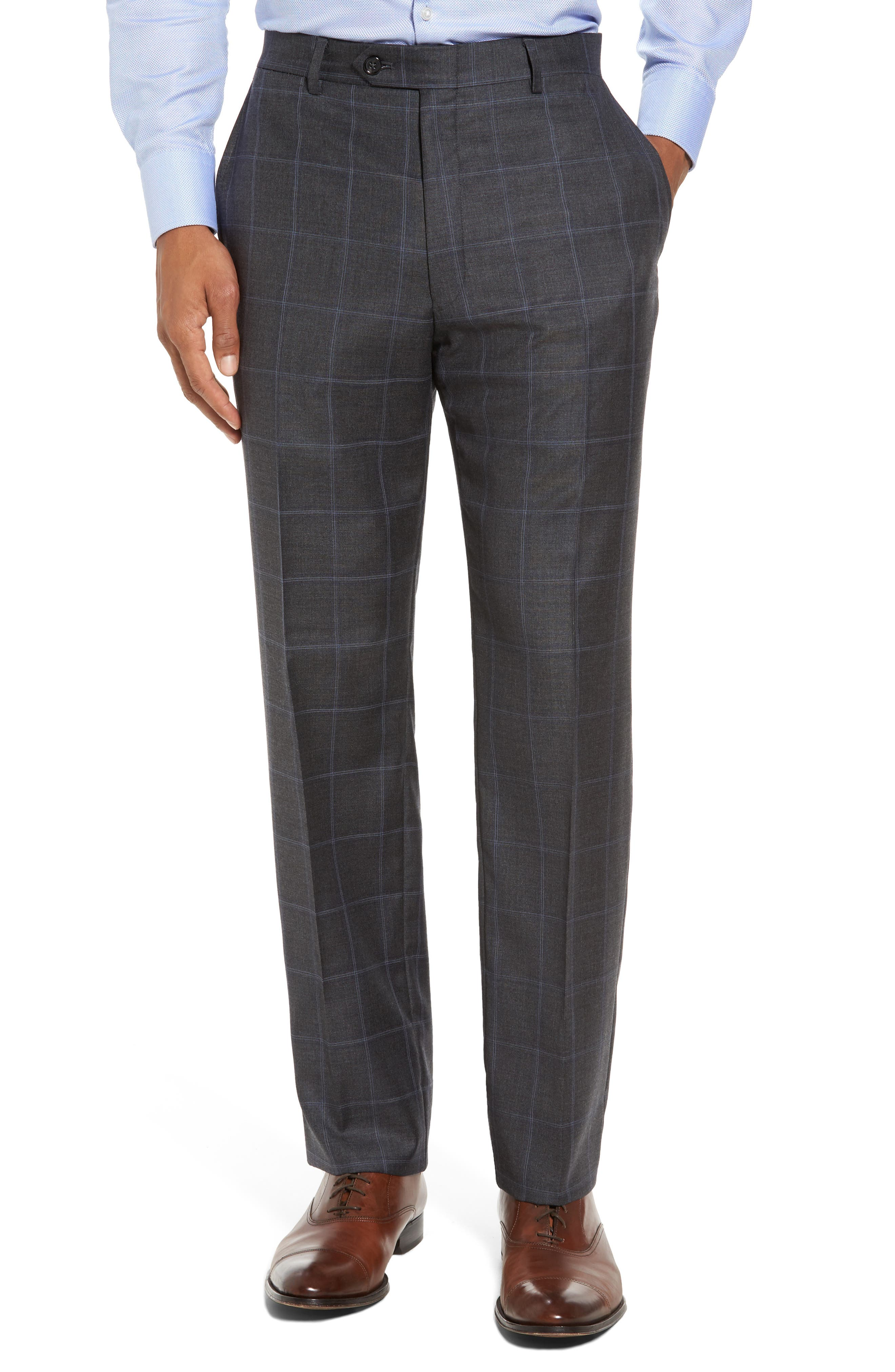 Classic Fit Plaid Wool Suit,                             Alternate thumbnail 6, color,                             Dark Grey