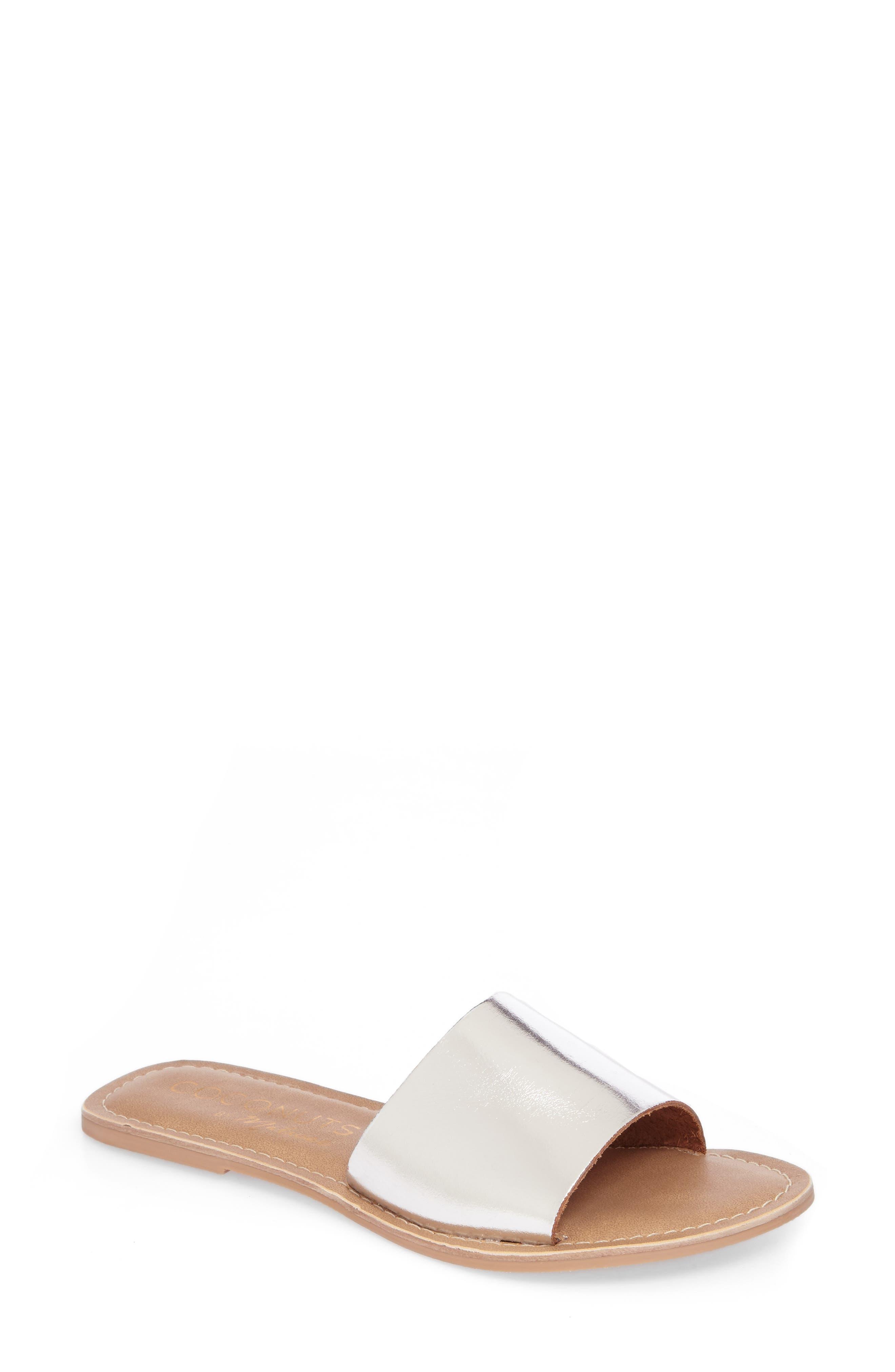 Cabana Slide Sandal,                         Main,                         color, Silver Leather