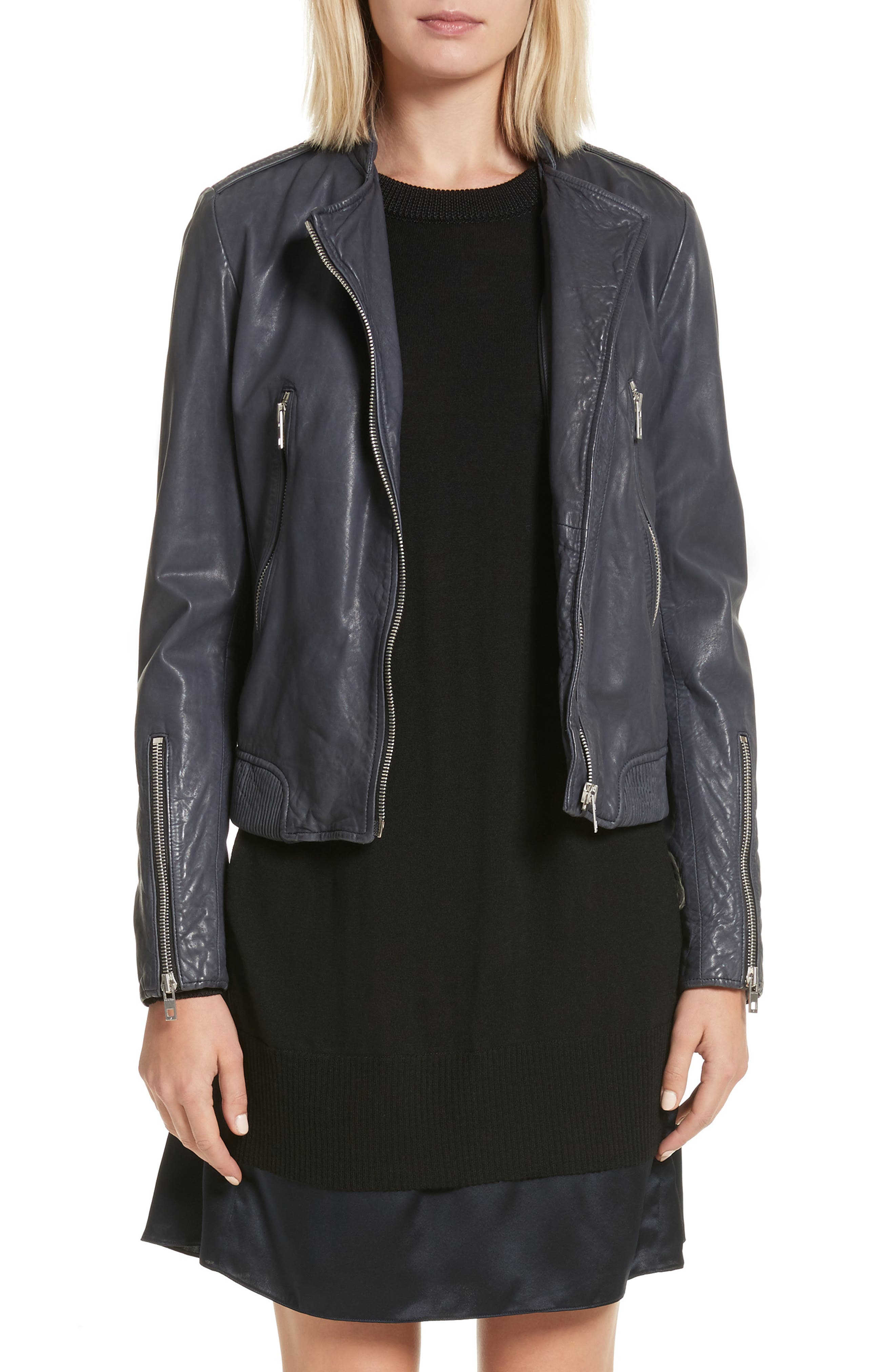 Lyon Leather Jacket,                         Main,                         color, Navy