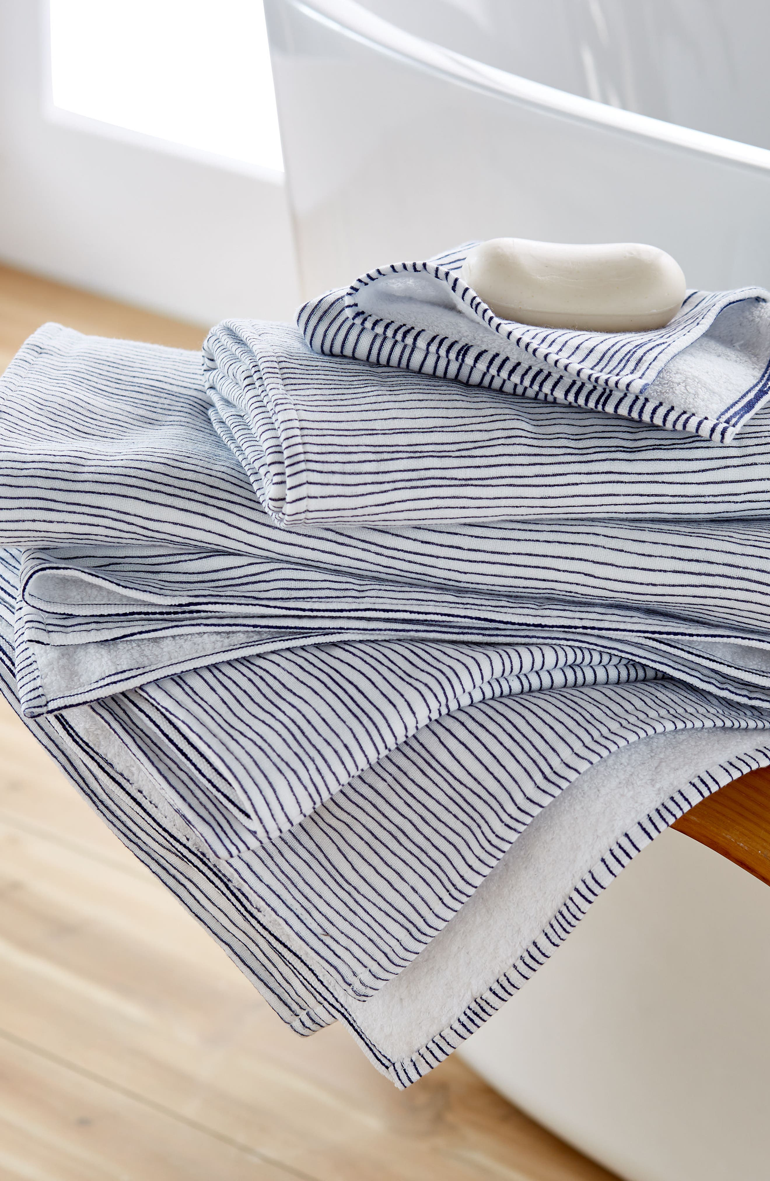Zero Twist Stripe Bath Towel,                             Alternate thumbnail 2, color,                             Ivory