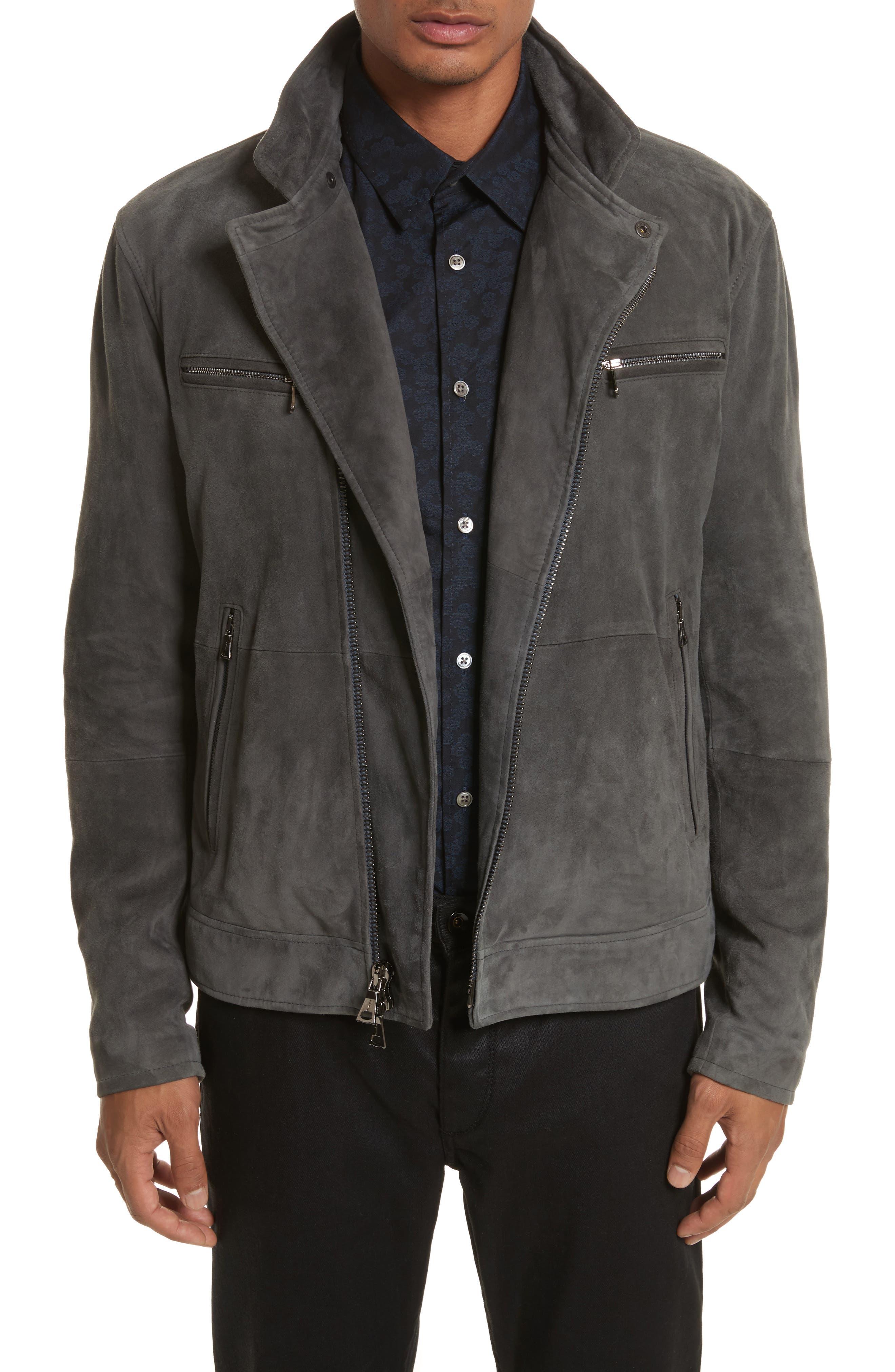 John Varvatos Suede Moto Jacket,                             Main thumbnail 1, color,                             Typhon Grey