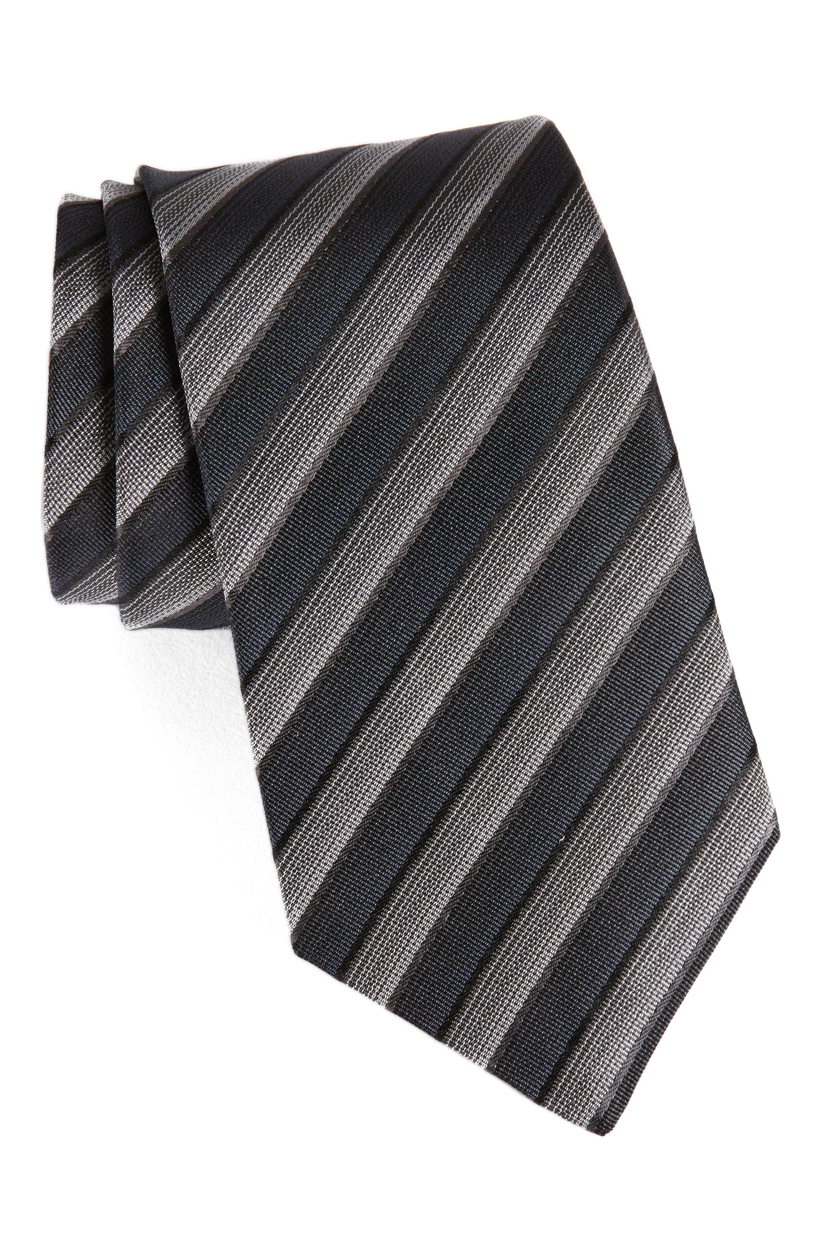 Stripe Silk Tie,                         Main,                         color, Steel Grey