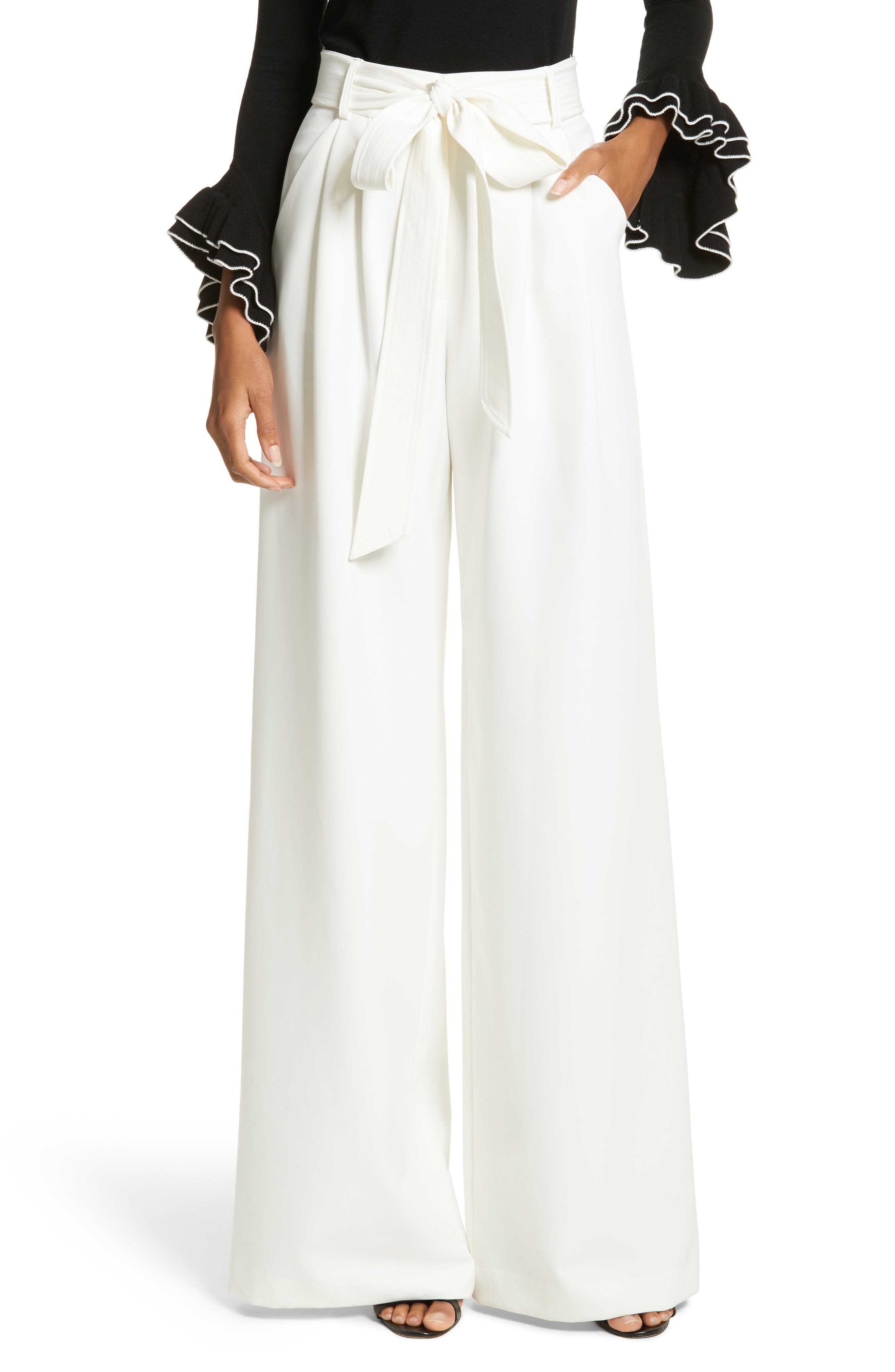 Main Image - Milly Italian Cady Trapunto Tie Waist Trousers