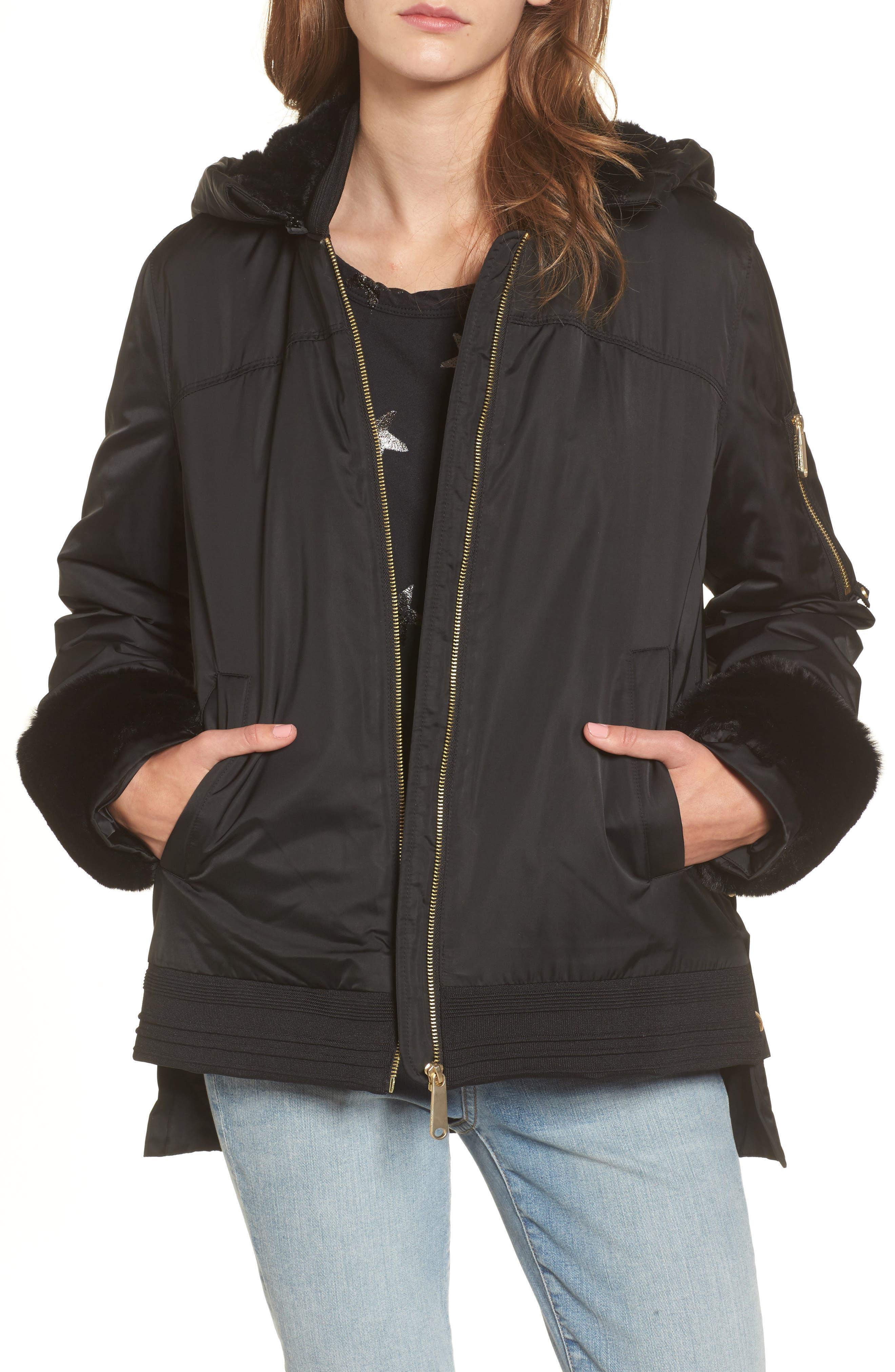 Faux Fur Trim Military Jacket,                             Main thumbnail 1, color,                             Black