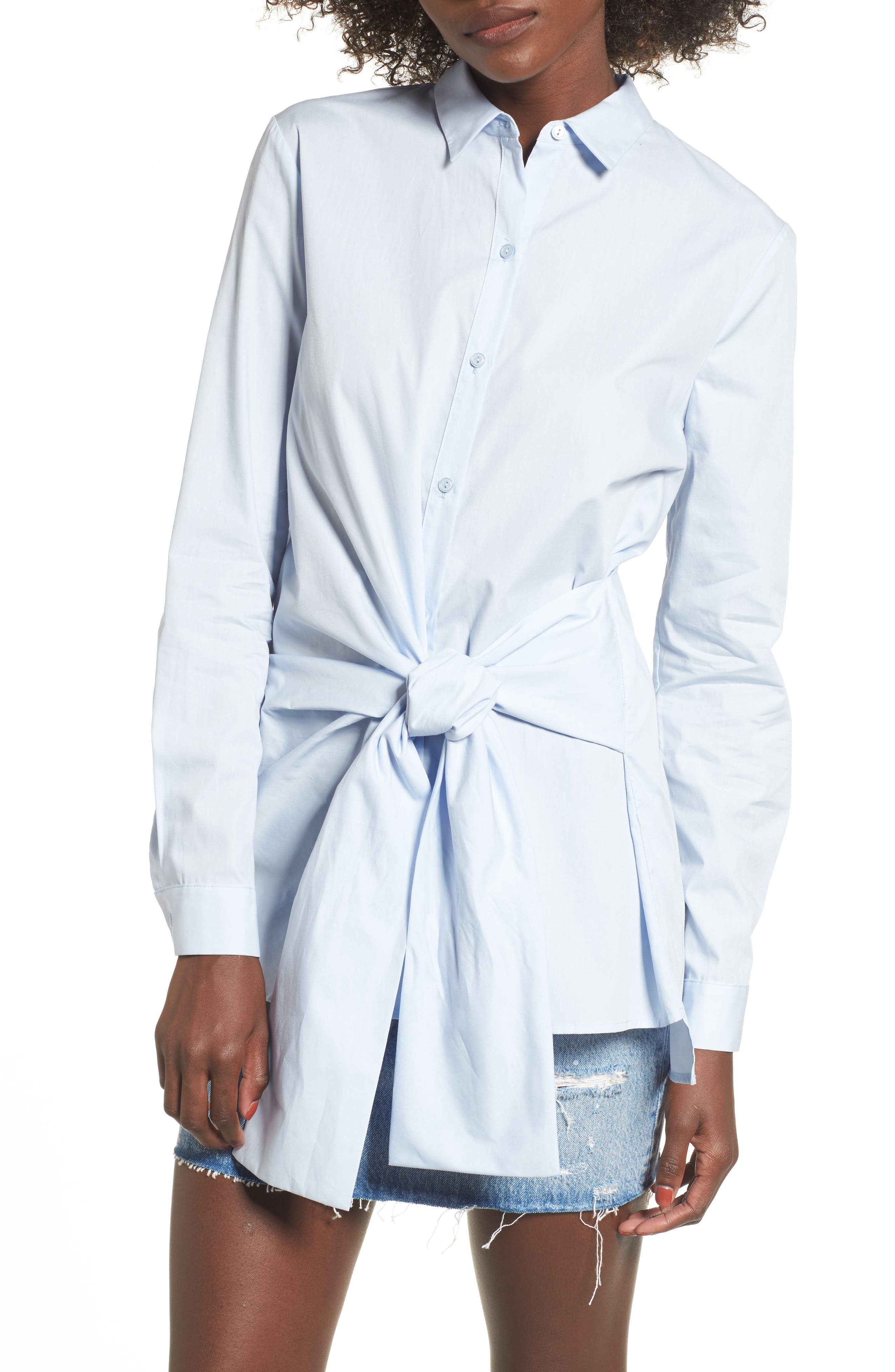 Lush Tie Front Tunic Shirt