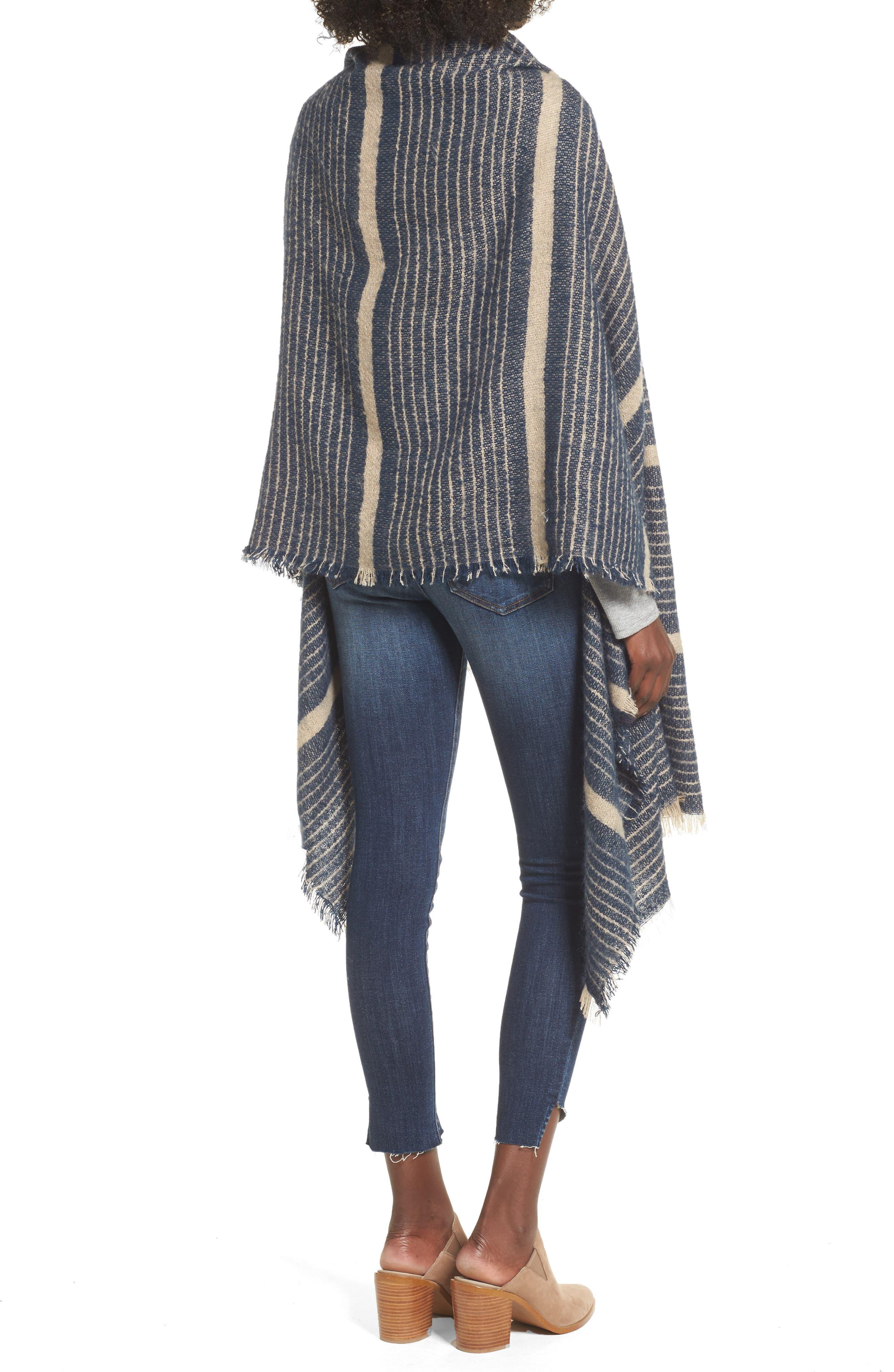 Stripe Blanket Scarf,                             Alternate thumbnail 2, color,                             Navy Combo