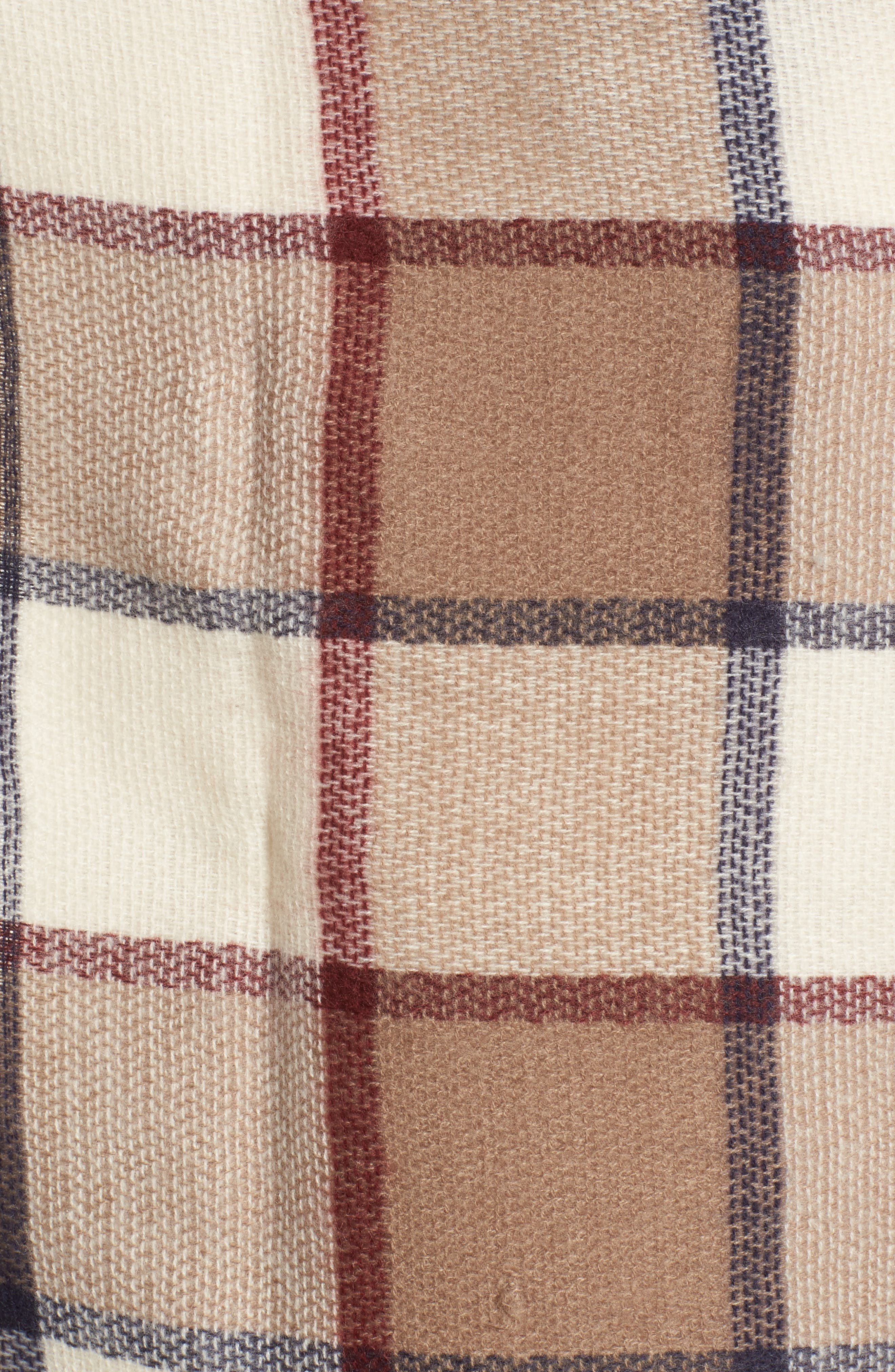Windowpane Check Blanket Scarf,                             Alternate thumbnail 5, color,                             Ivory Combo