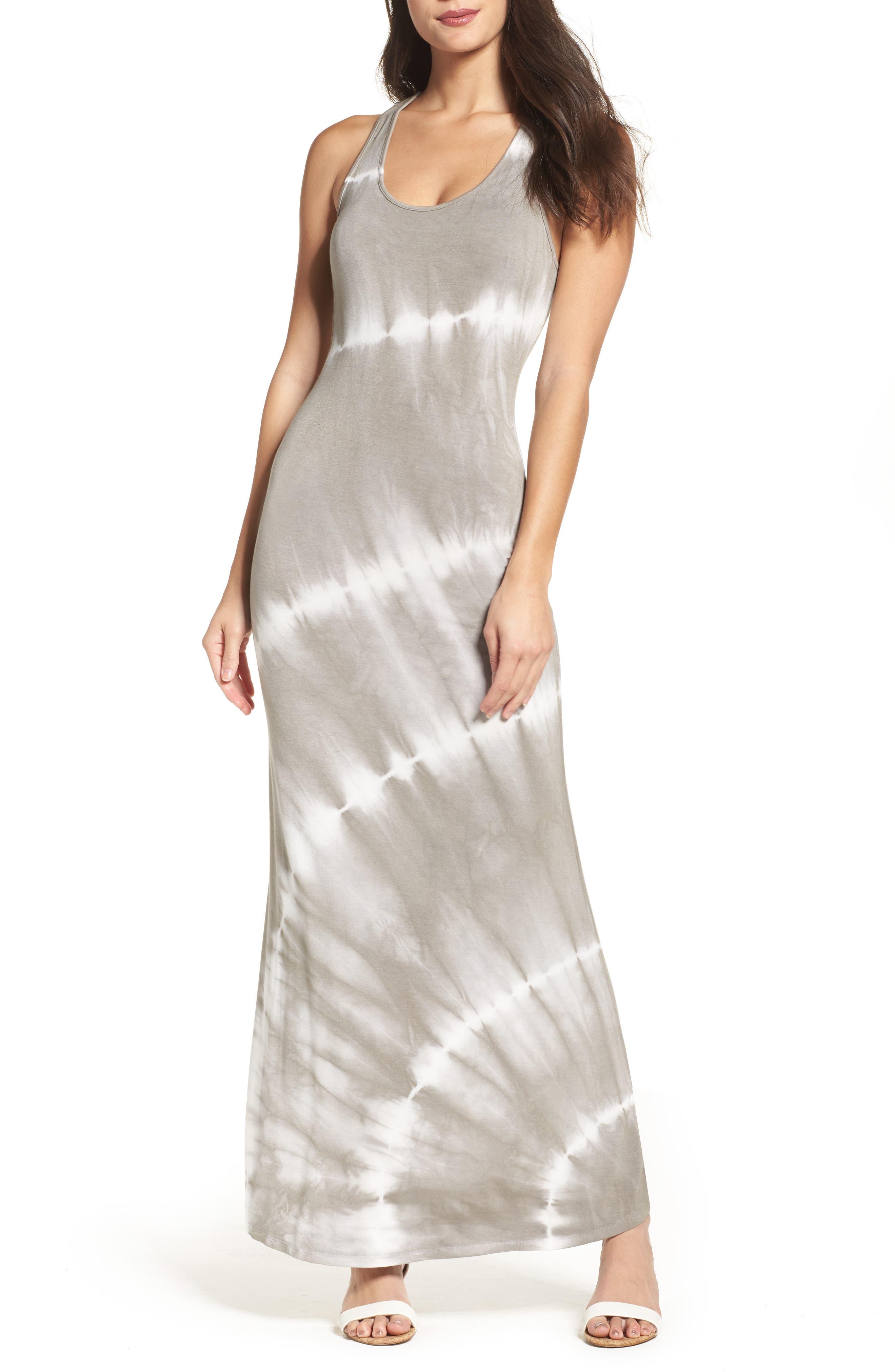 Tie Dye Racerback Maxi Dress,                             Main thumbnail 1, color,                             Grey/ White