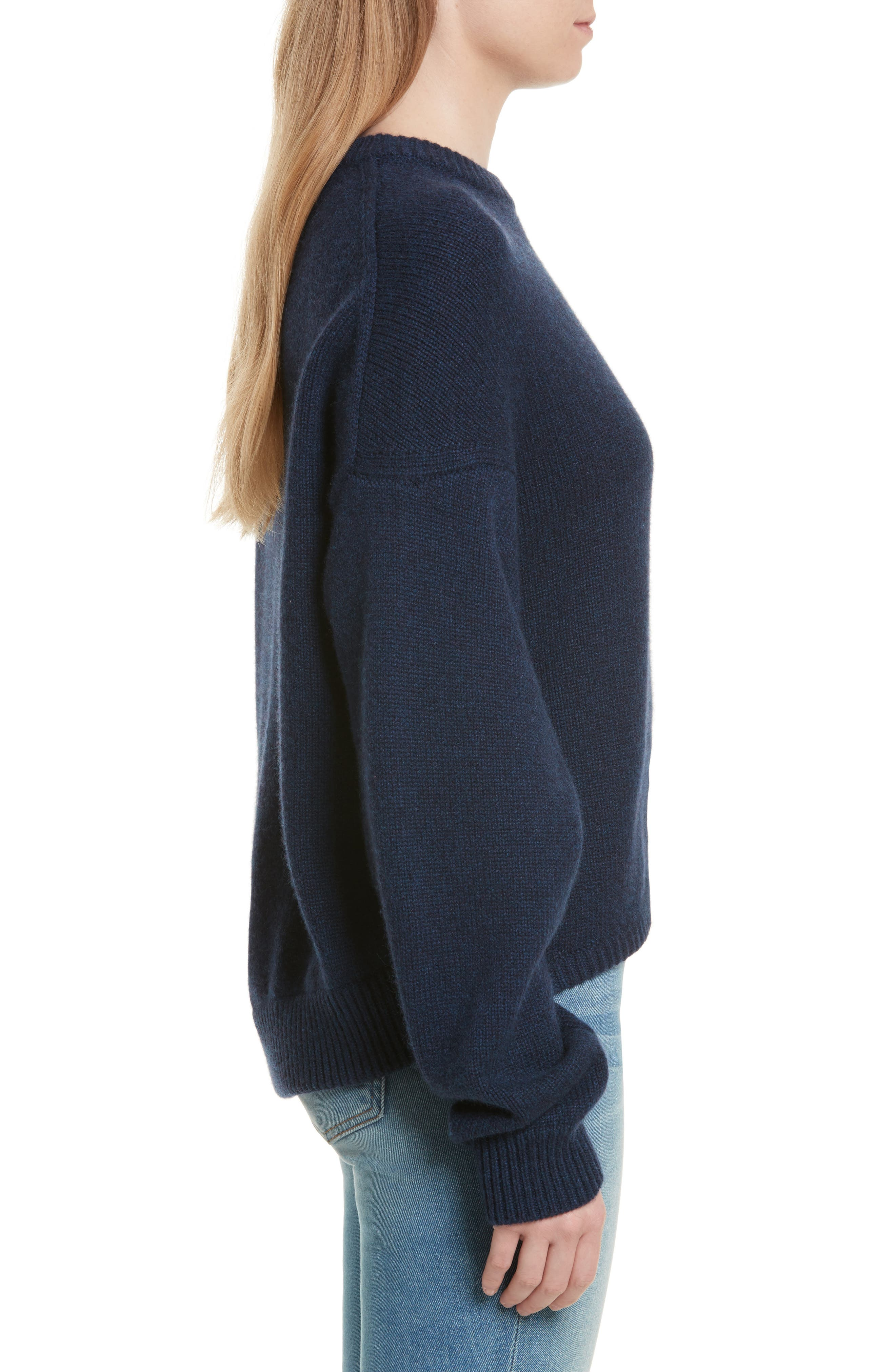 Sculpted Sleeve High/Low Cashmere Sweater,                             Alternate thumbnail 3, color,                             Navy