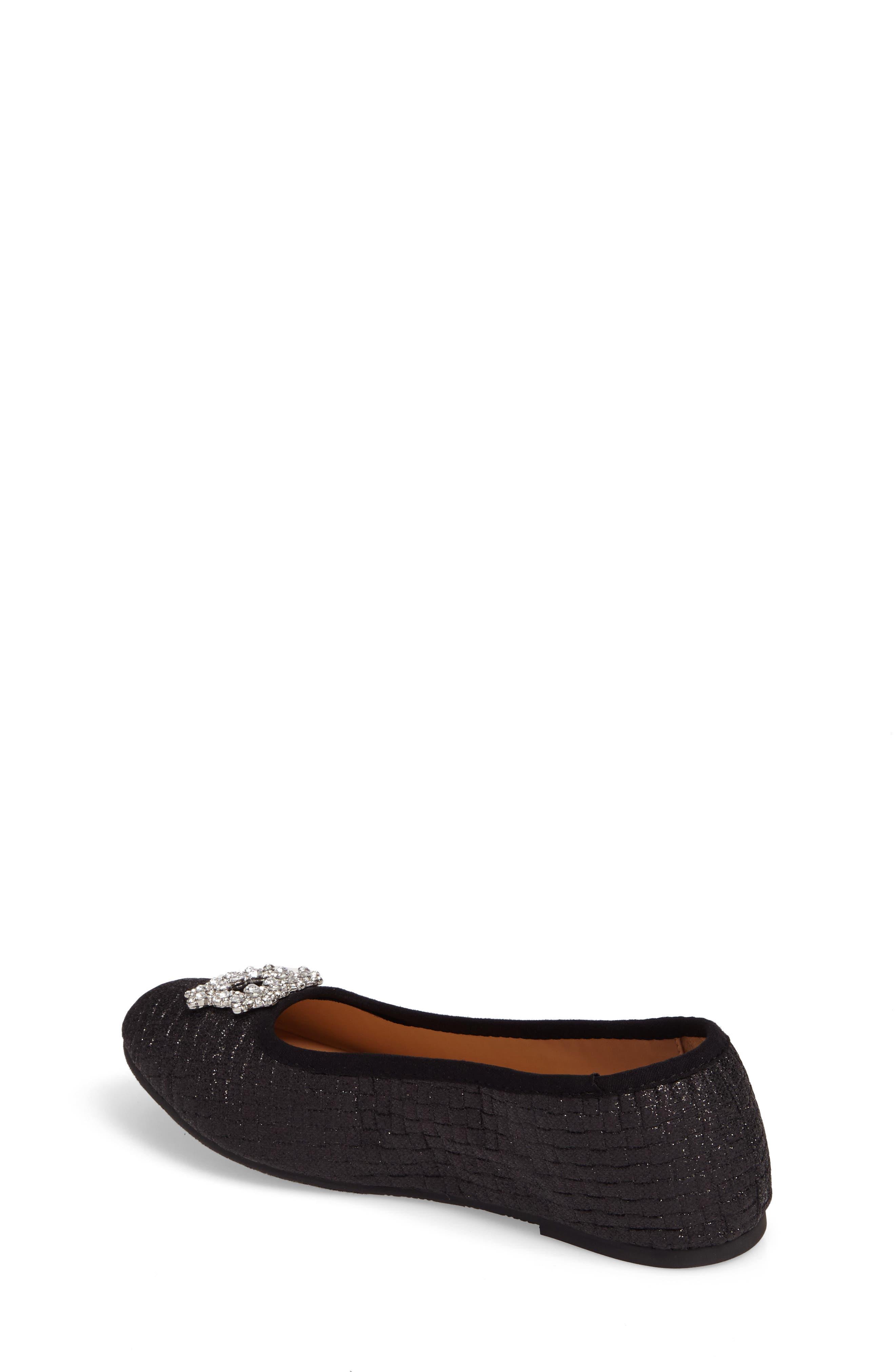 Amber Nidia Embellished Glitter Flat,                             Alternate thumbnail 2, color,                             Black Shimmer