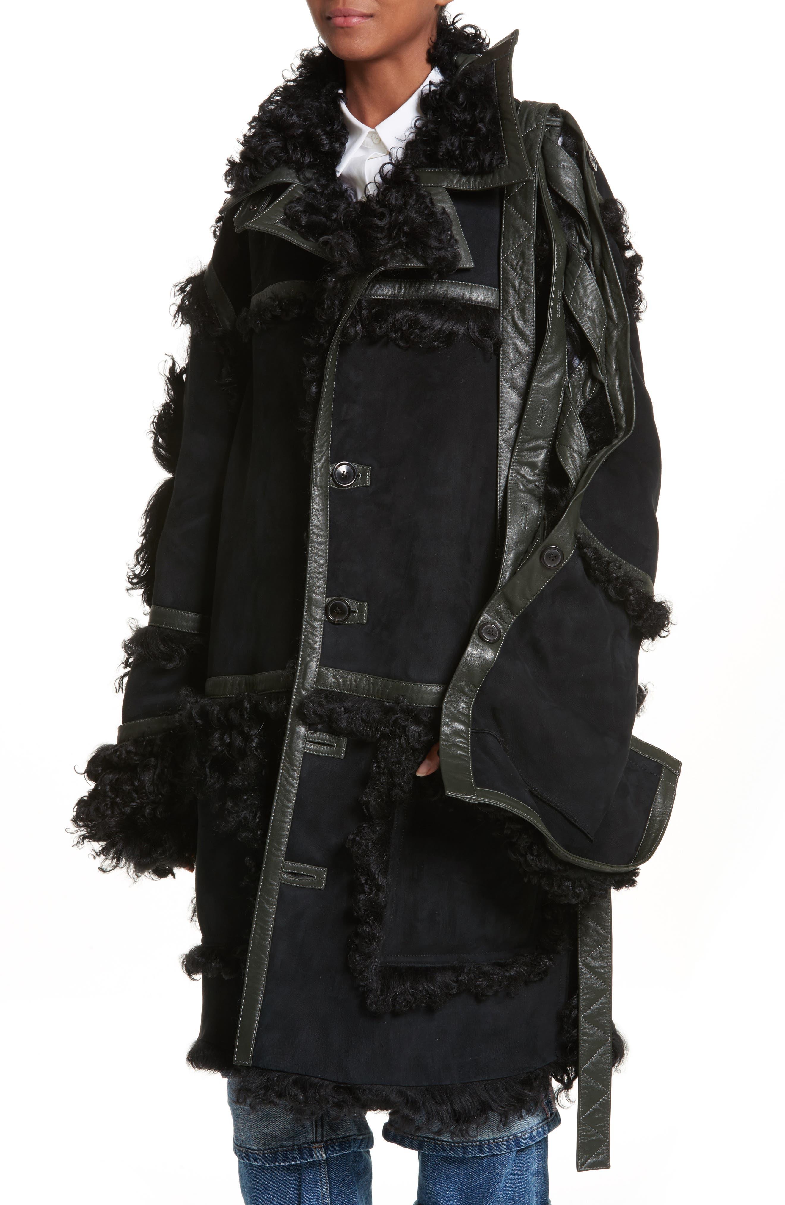Genuine Shearling Coat,                             Alternate thumbnail 3, color,                             Noir