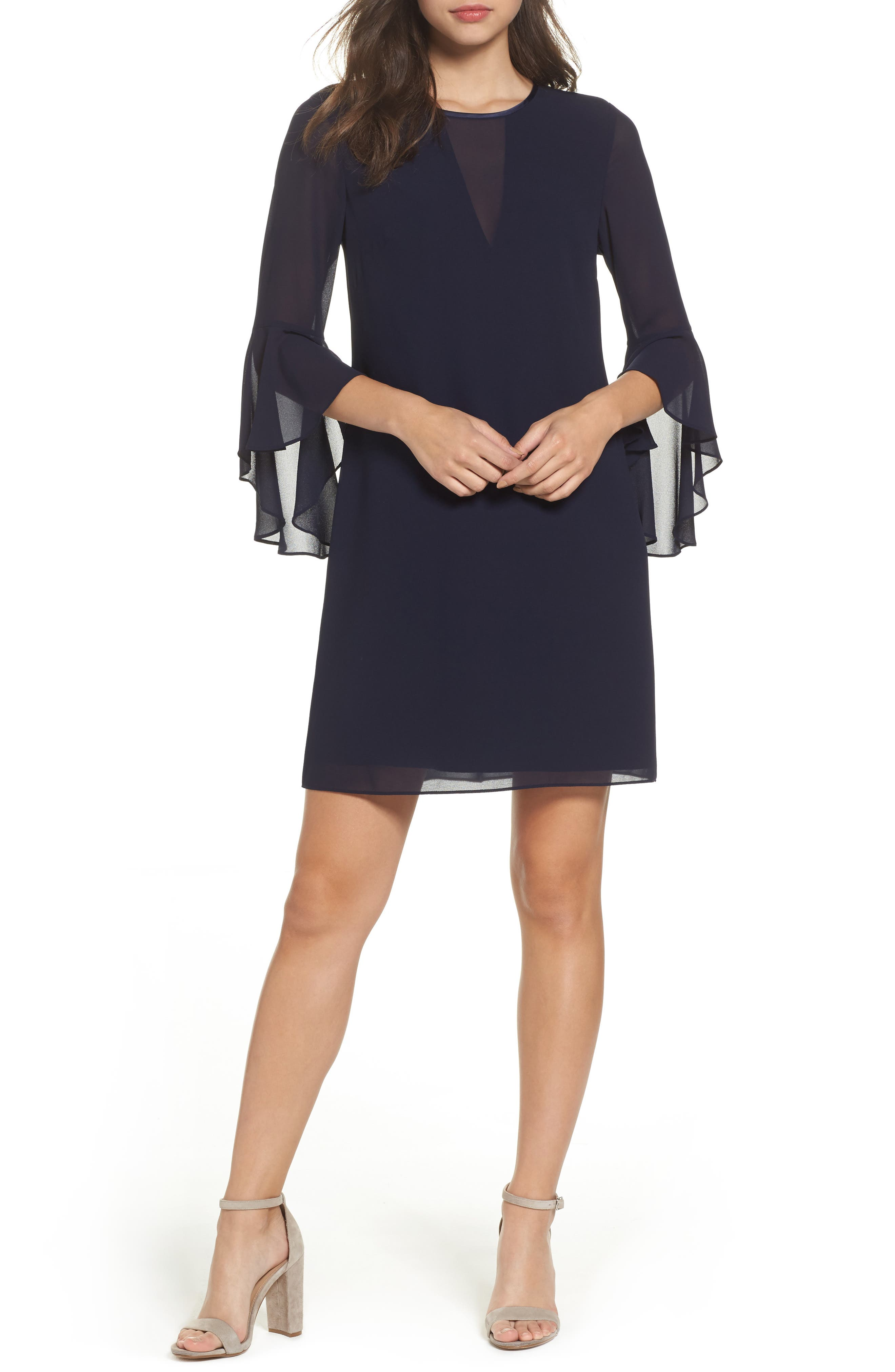 Souffle Chiffon Shift Dress,                         Main,                         color, Navy