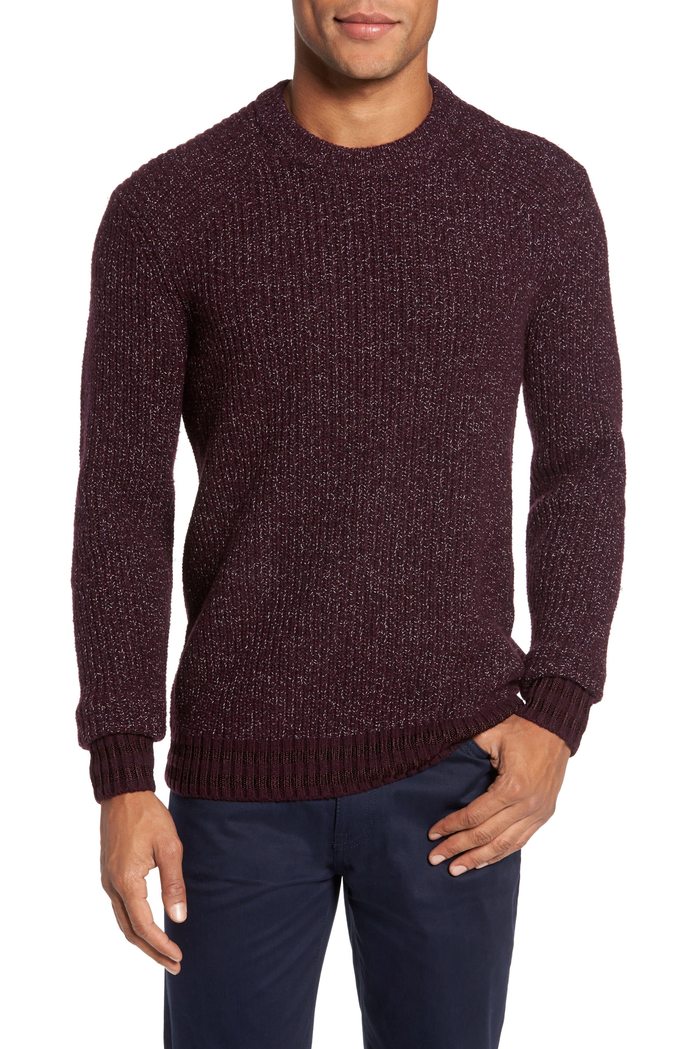 Textured Raglan Sweater,                         Main,                         color, Dark Red