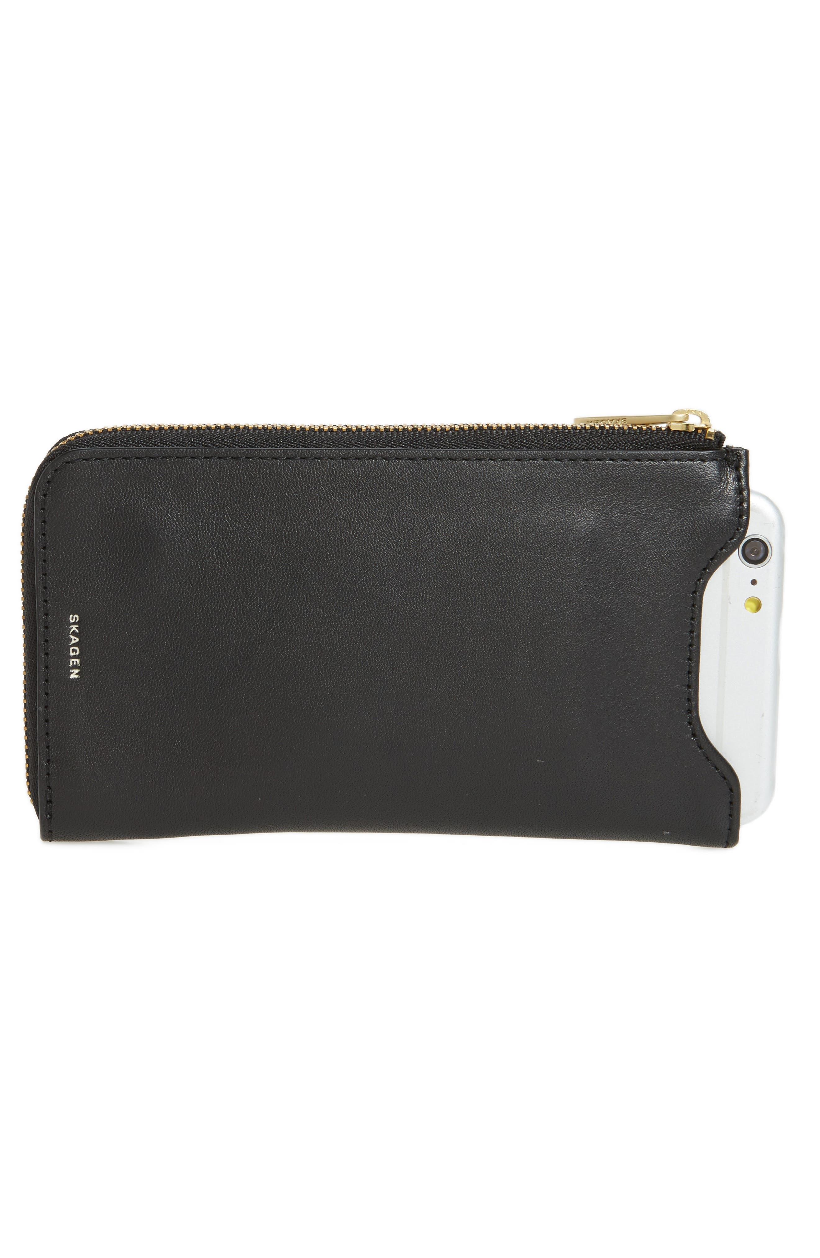 Lilli iPhone 6/6s/7 Leather Sleeve,                             Alternate thumbnail 2, color,                             Black