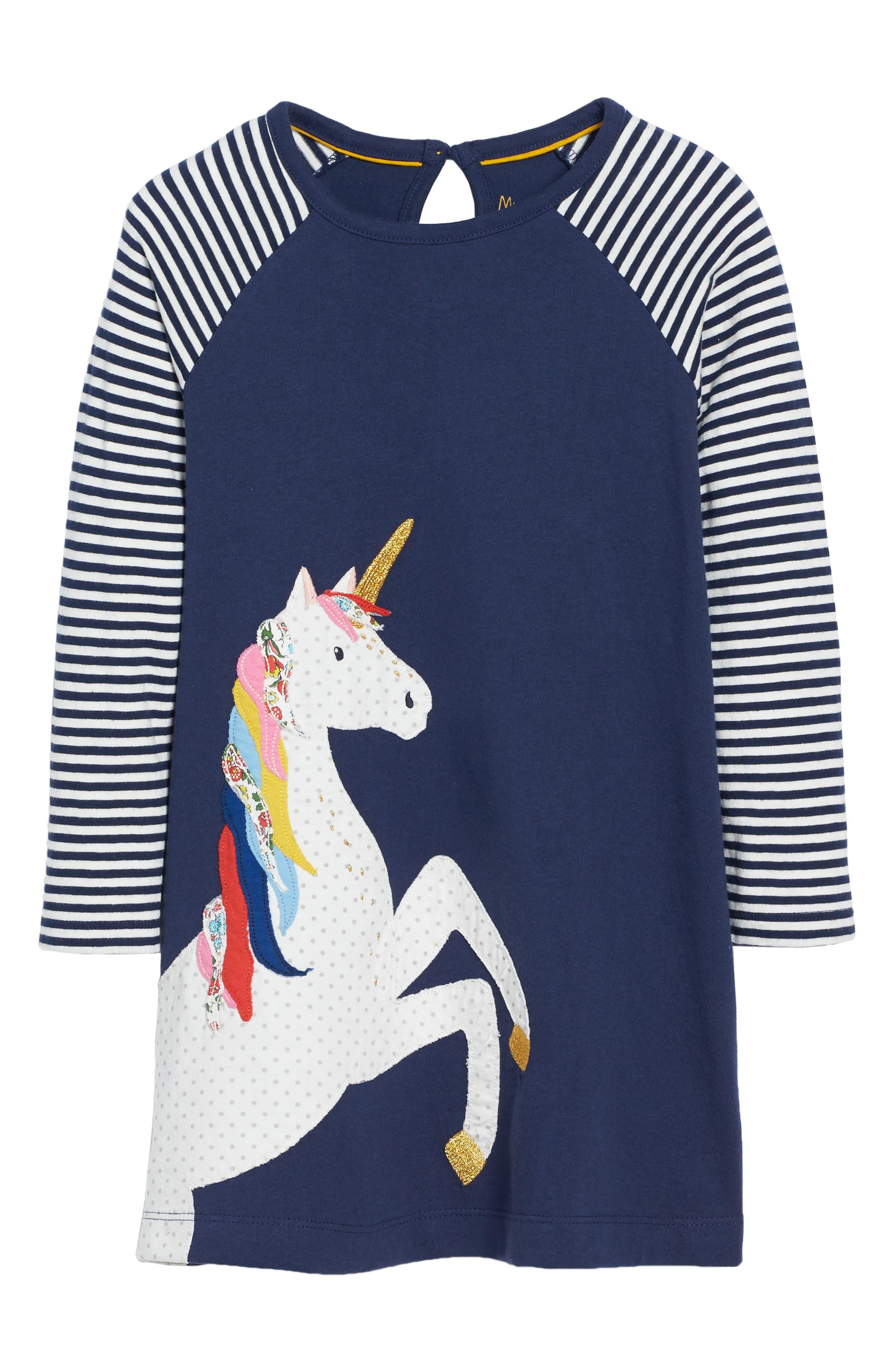 Mini Boden Big Appliqué Jersey Dress (Toddler Girls, Little Girls & Big Girls)