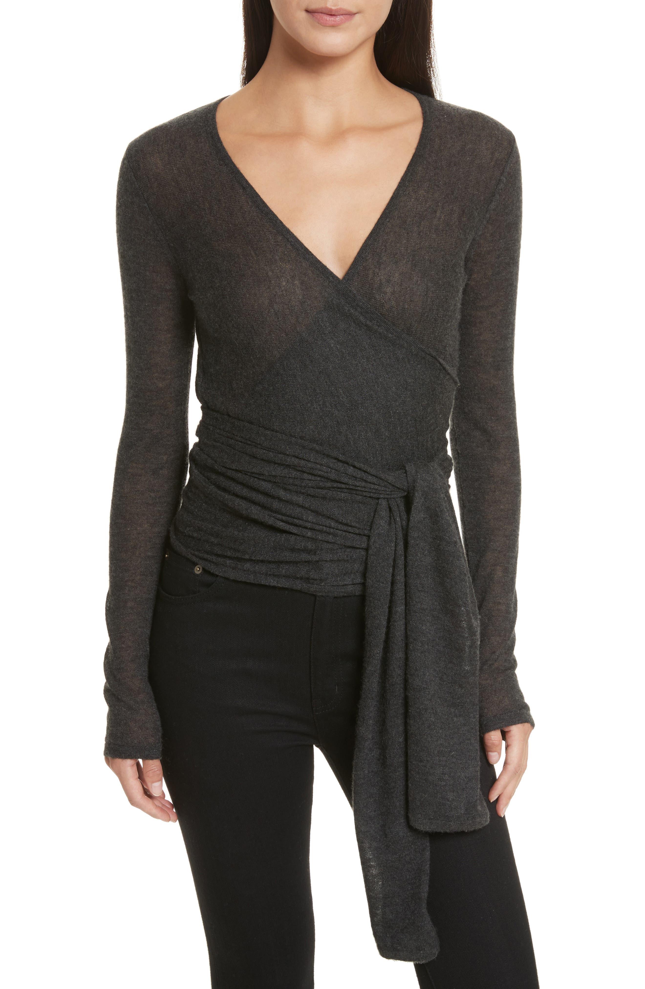 Cashmere Wrap Ballet Sweater,                         Main,                         color, Charcoal