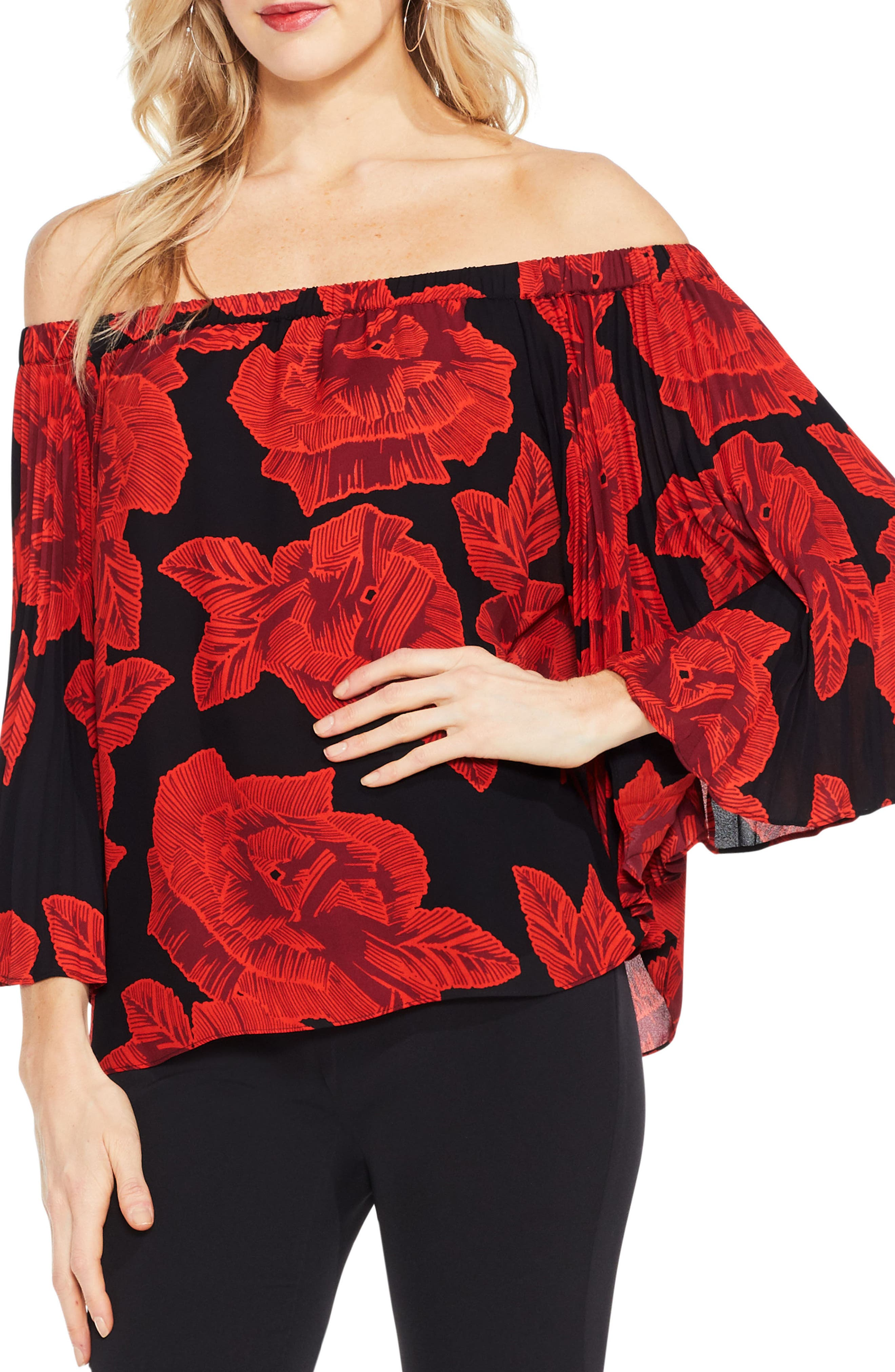 Vince Camuto Pleat Bell Sleeve Floral Blouse