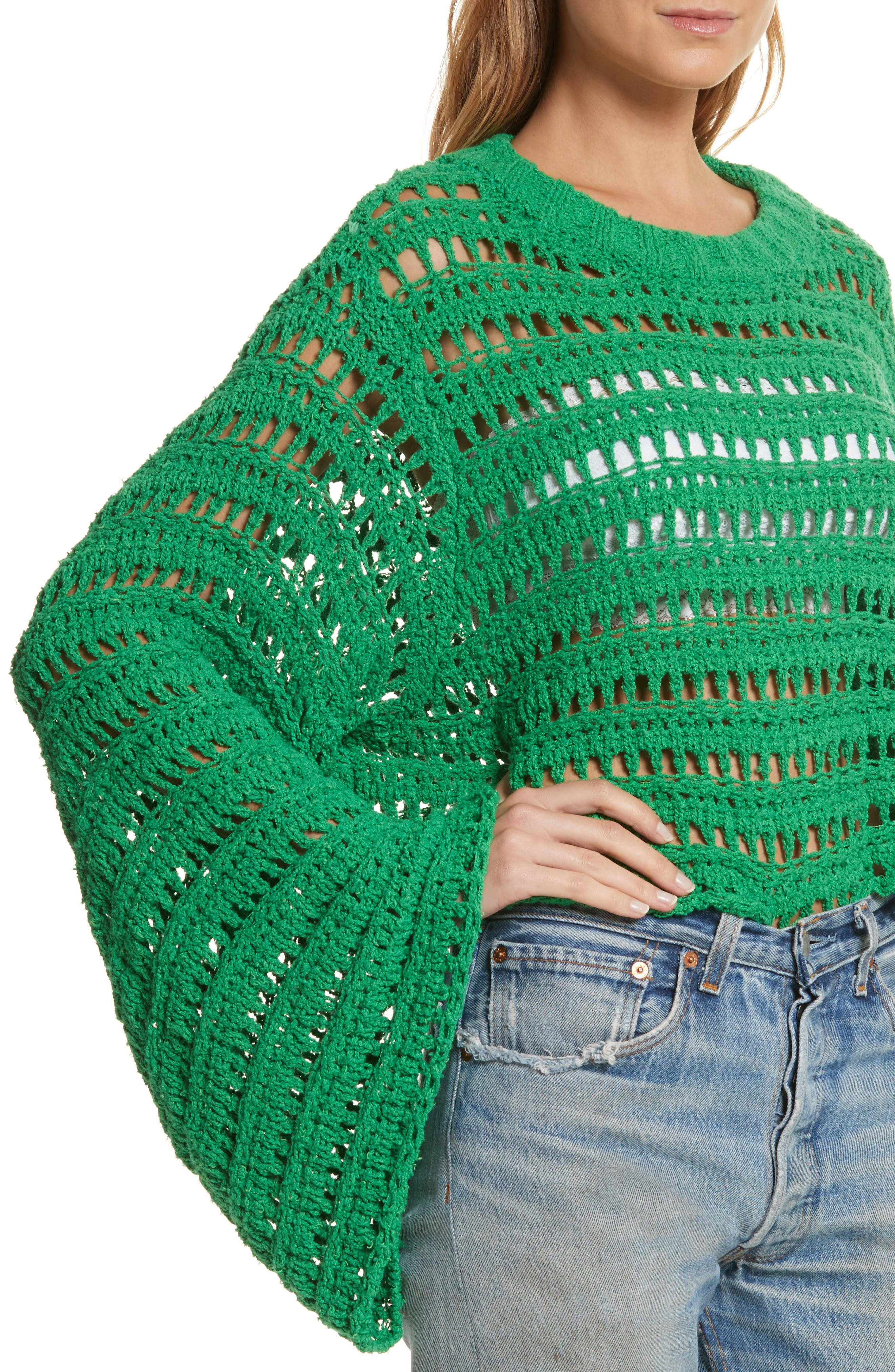 Caught Up Crochet Top,                             Alternate thumbnail 4, color,                             Kelly Green