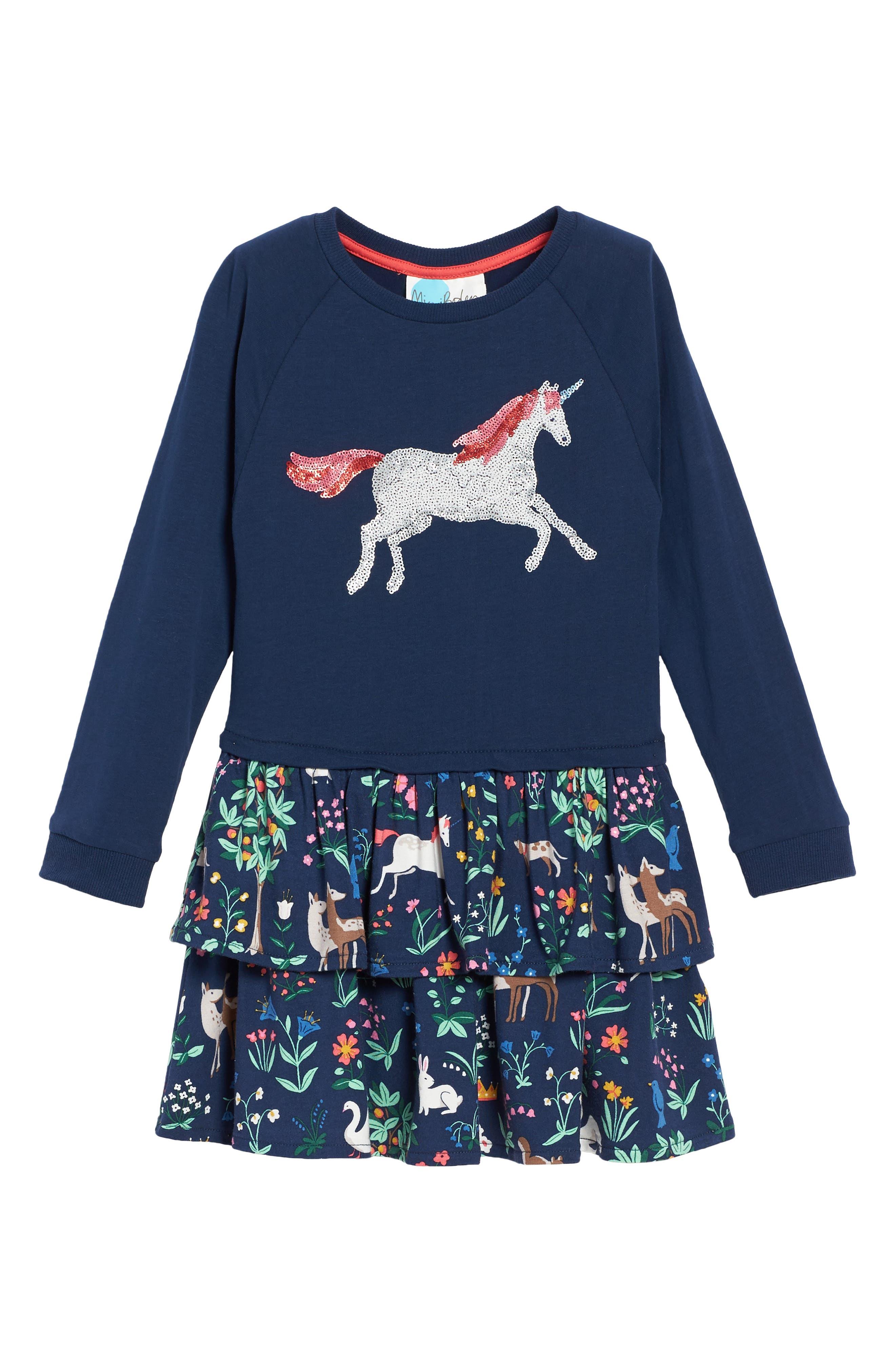 Main Image - Mini Boden Twirly Sequin Dress (Toddler Girls, Little Girls & Big Girls)