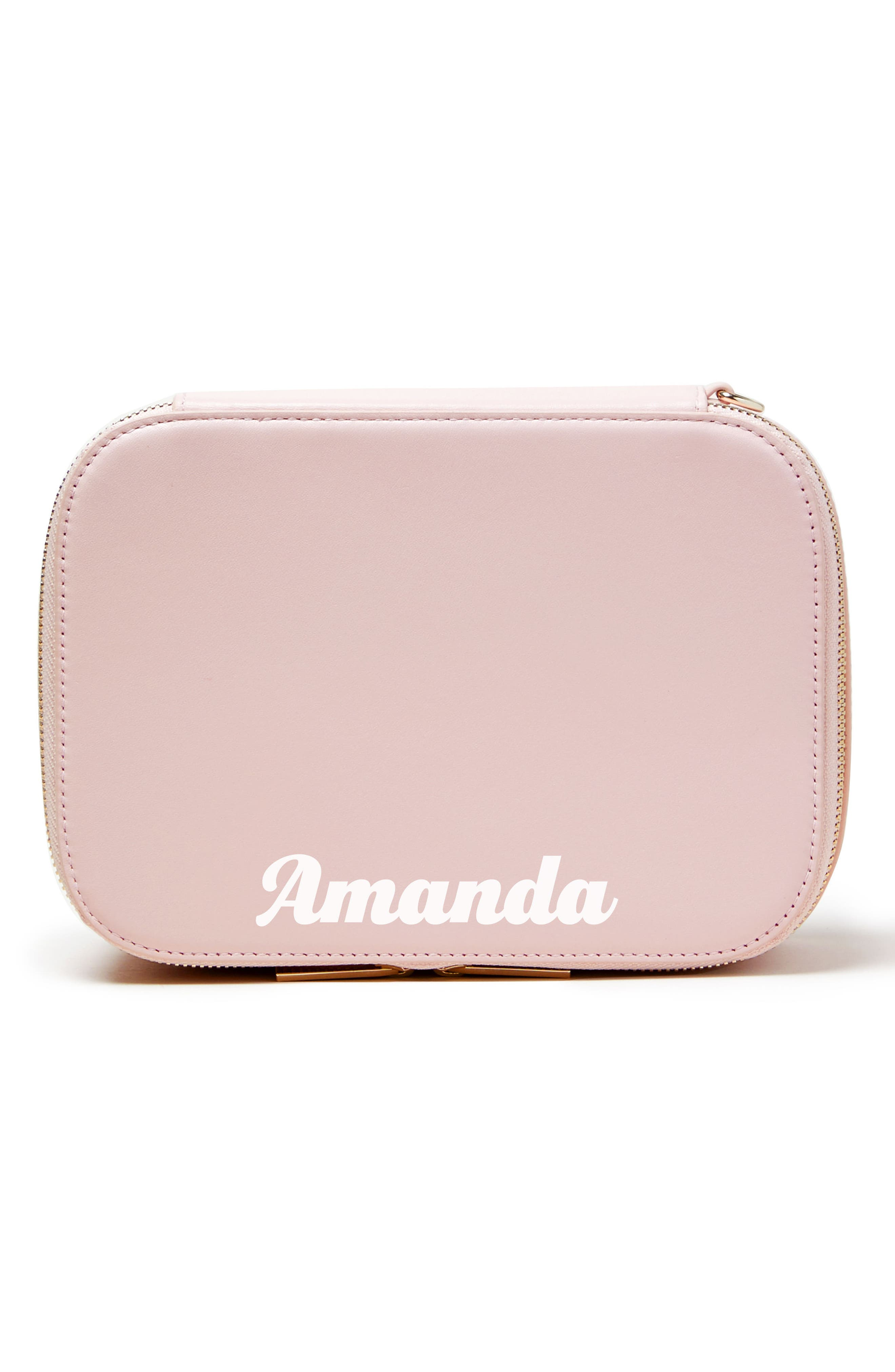 Bigger Personalized Makeup Bag,                         Main,                         color, Cotton Candy/ White