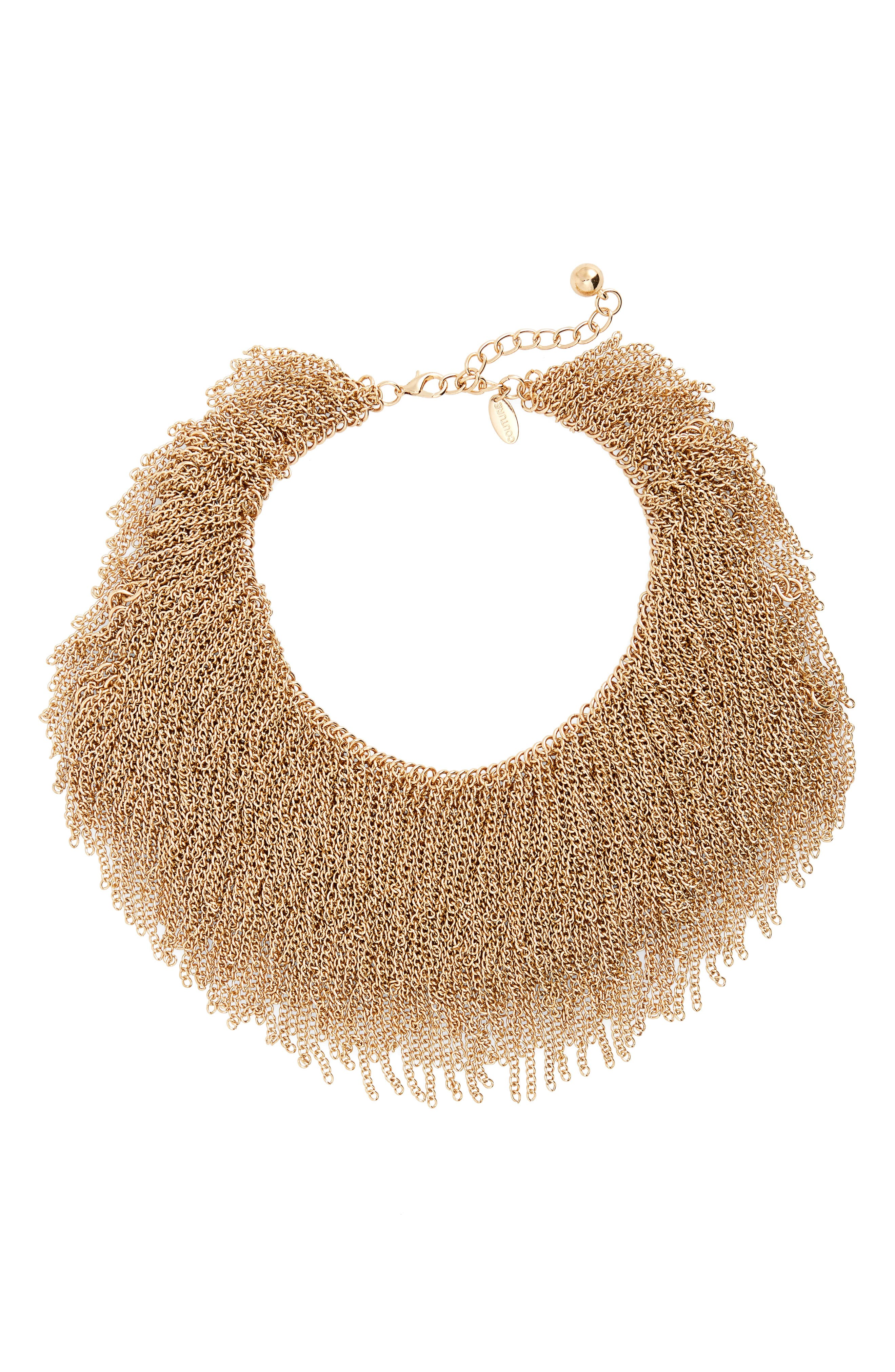 Chain Fringe Statement Necklace,                         Main,                         color, Gold