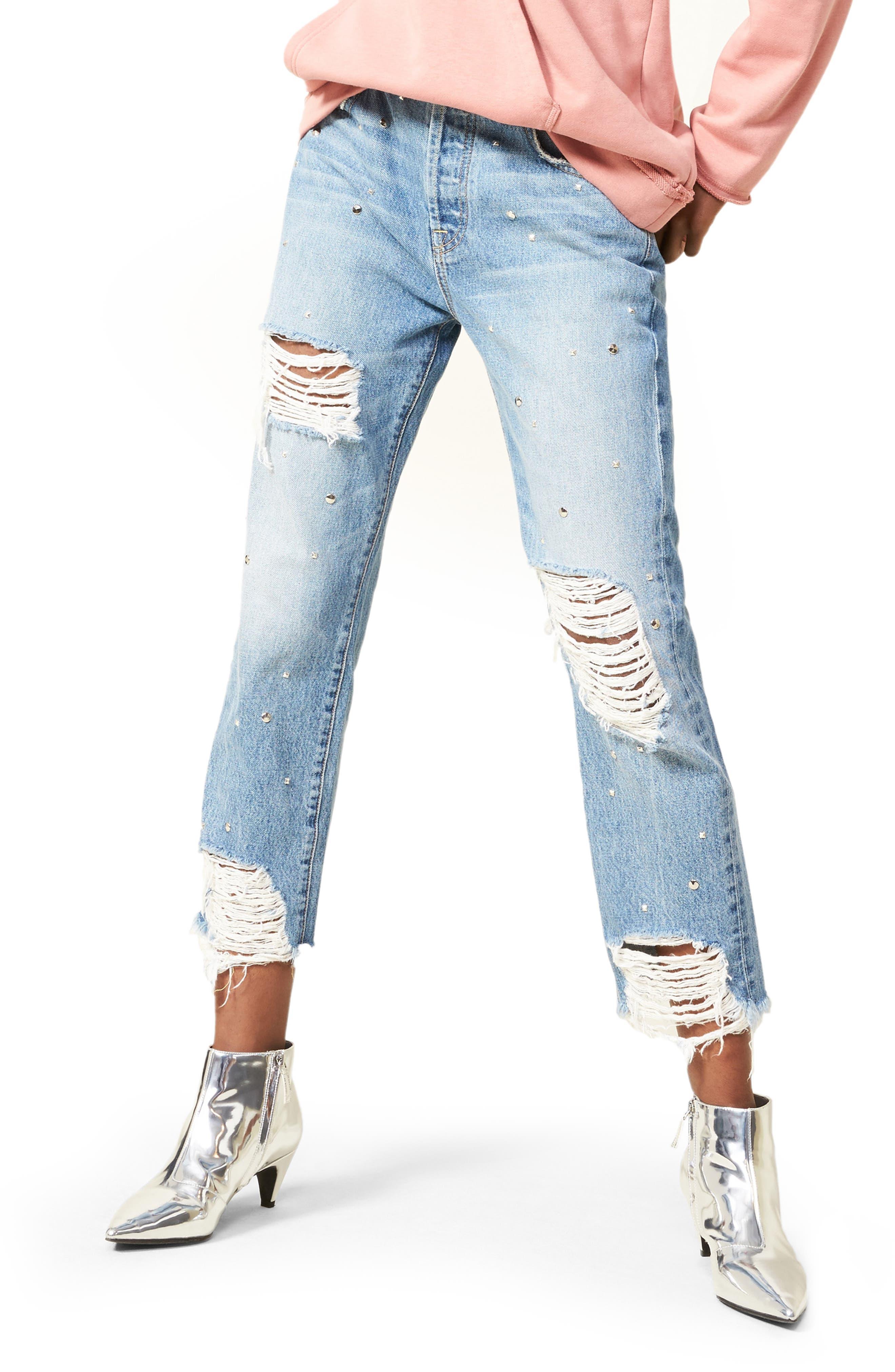 Josefina Studded Destroyed Jeans,                         Main,                         color, Vintage Wythe