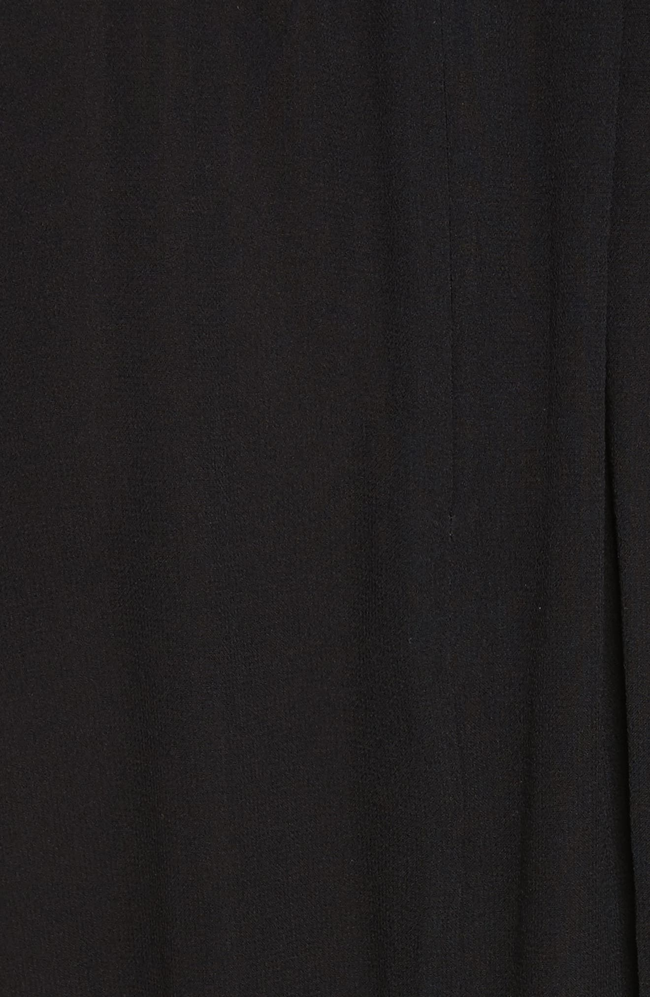 Collette Silk Midi Dress,                             Alternate thumbnail 5, color,                             Black
