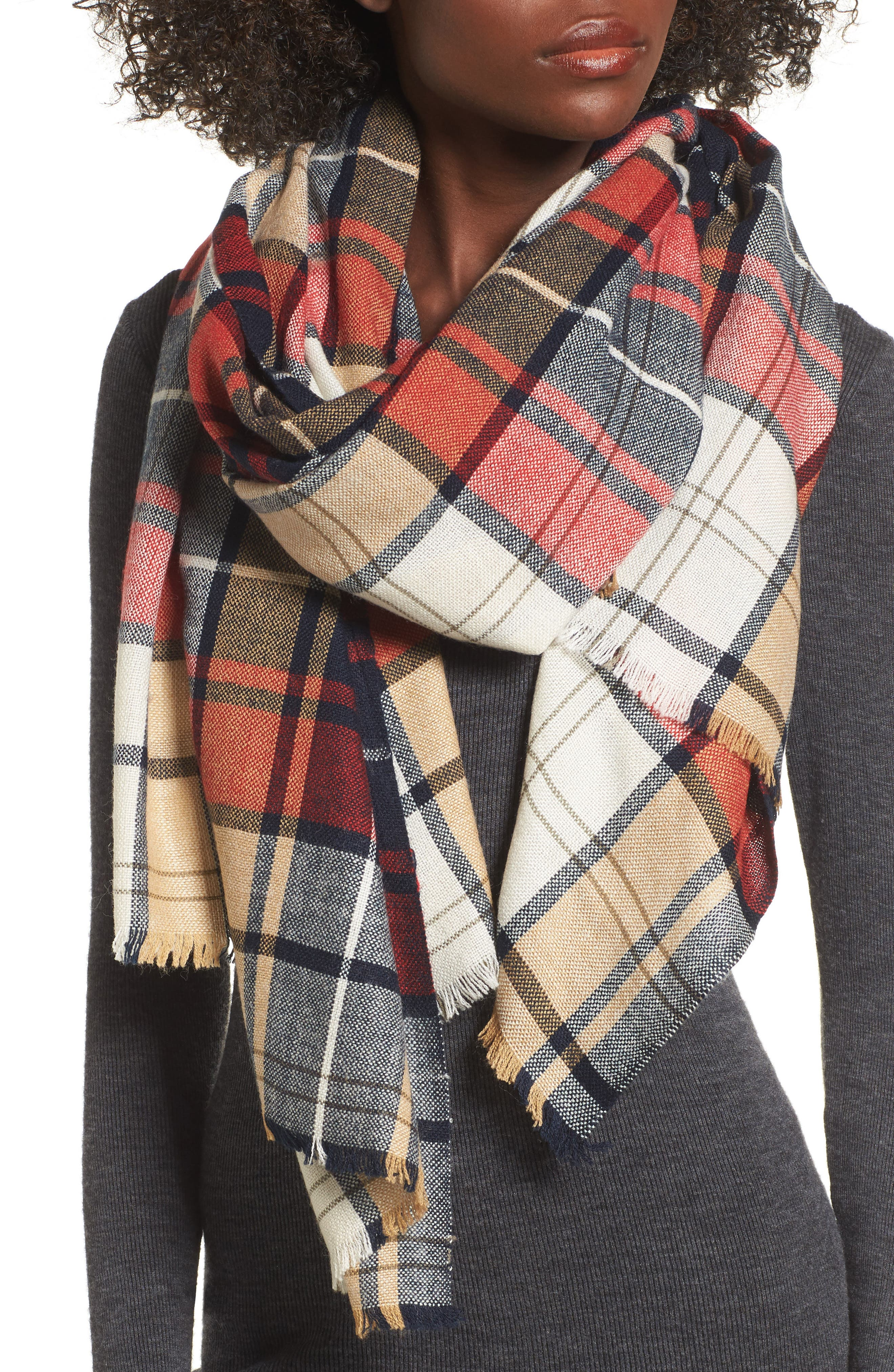 Sole Society Oversize Plaid Wool Scarf