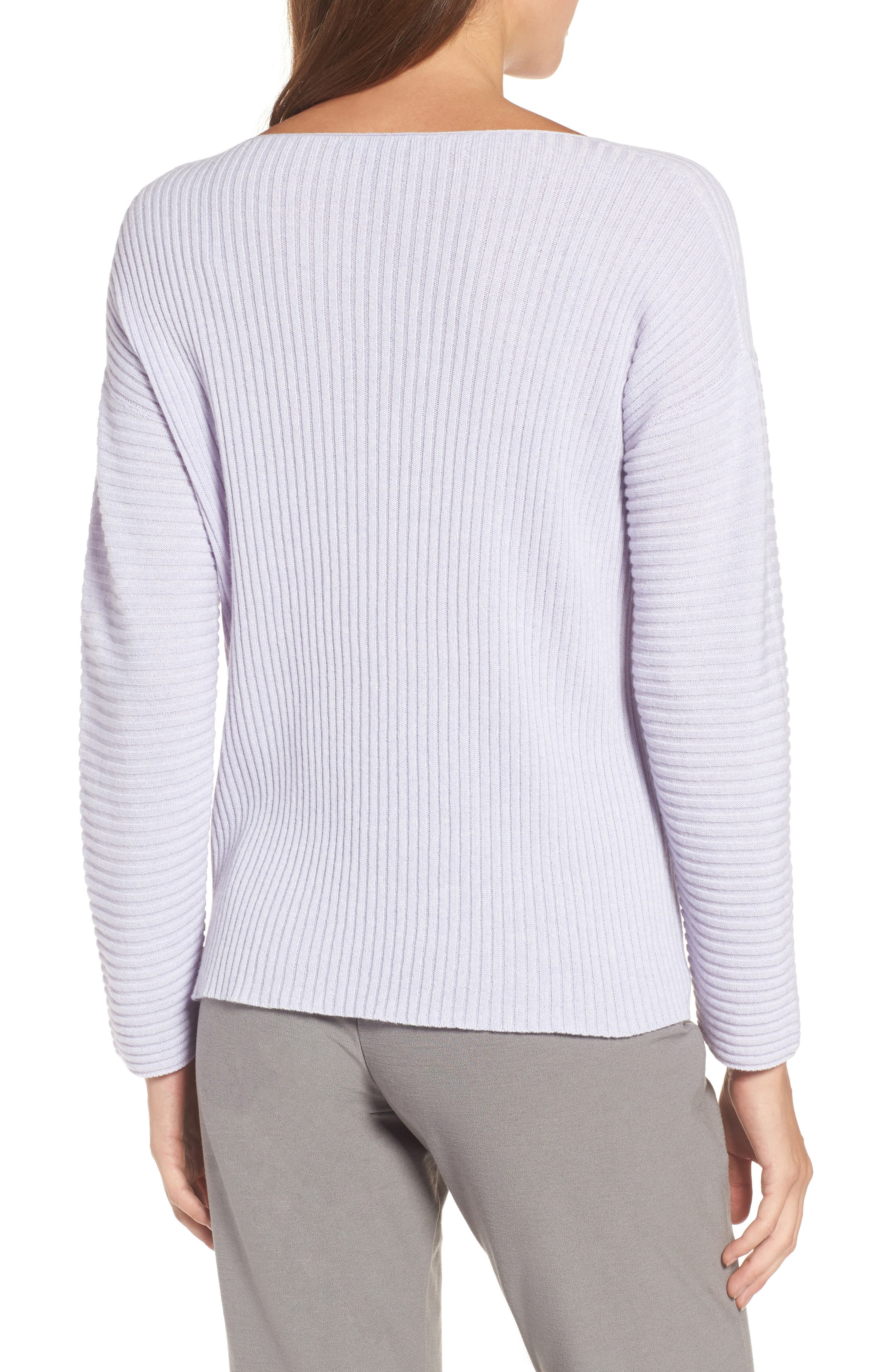 Ribbed Cashmere Sweater,                             Alternate thumbnail 2, color,                             Moon