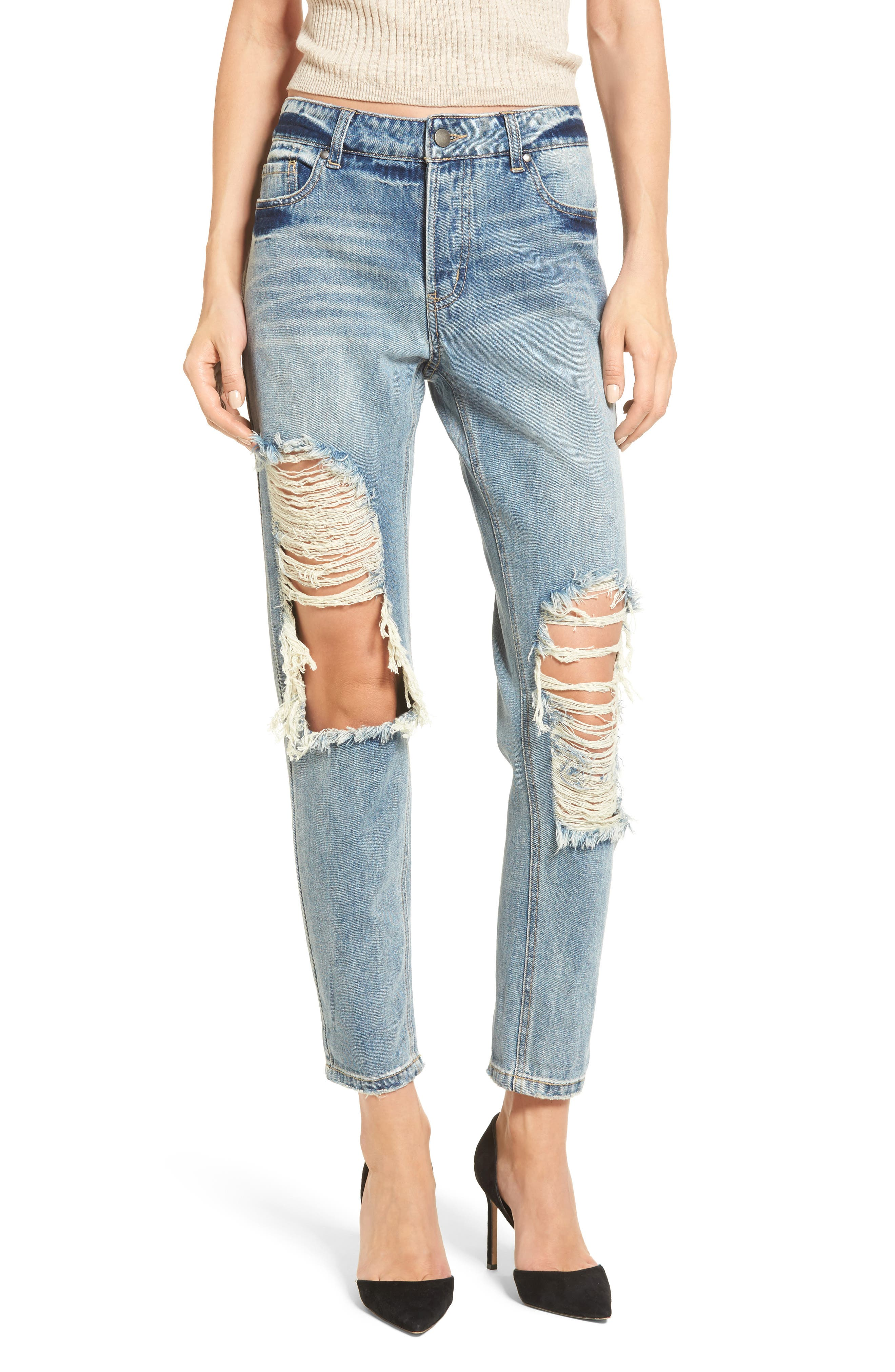 Main Image - AFRM Cyrus High Waist Ankle Jeans (Sinner Wash)