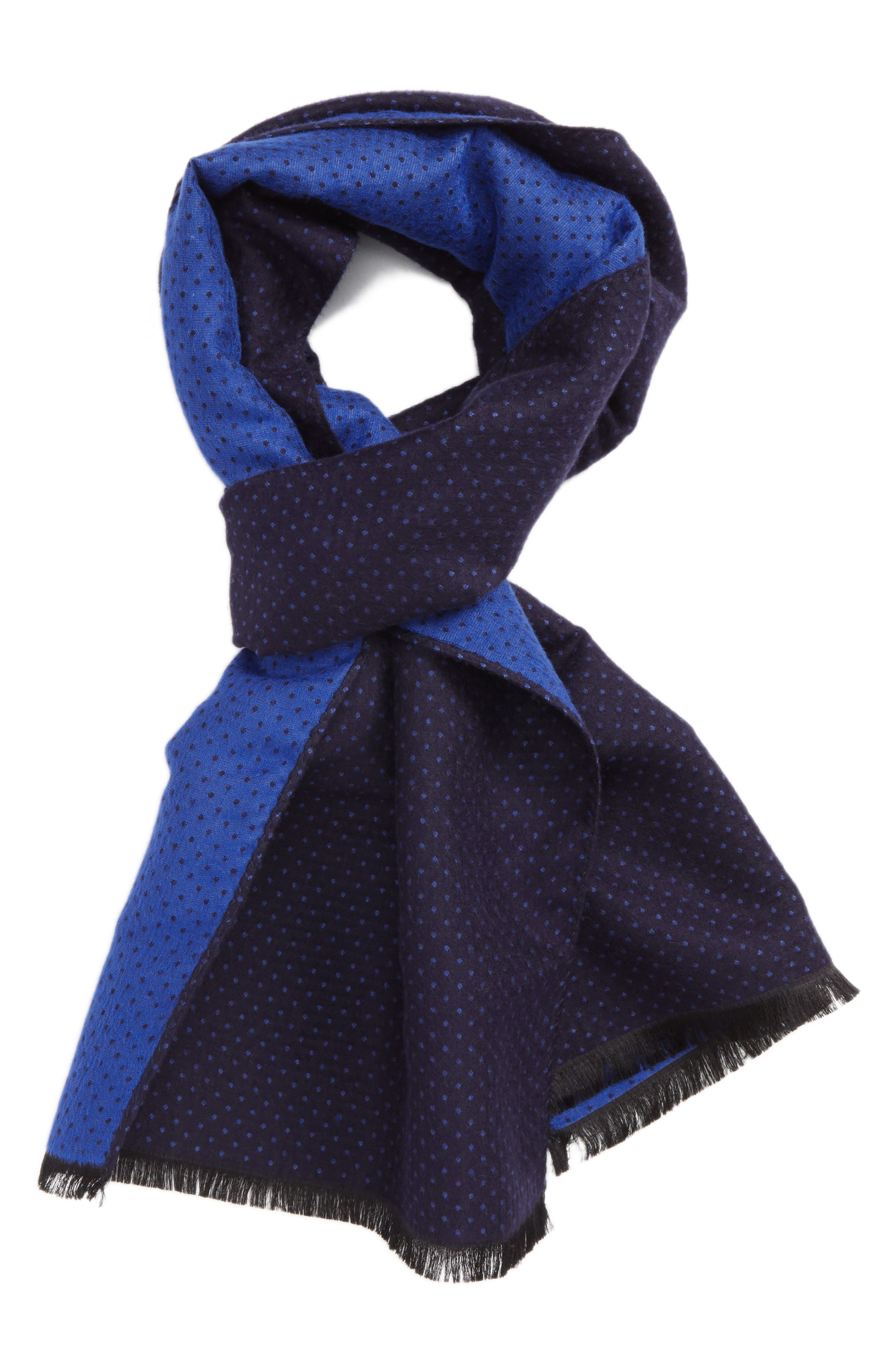 Silk Blend Scarf,                         Main,                         color, Navy/ Blue