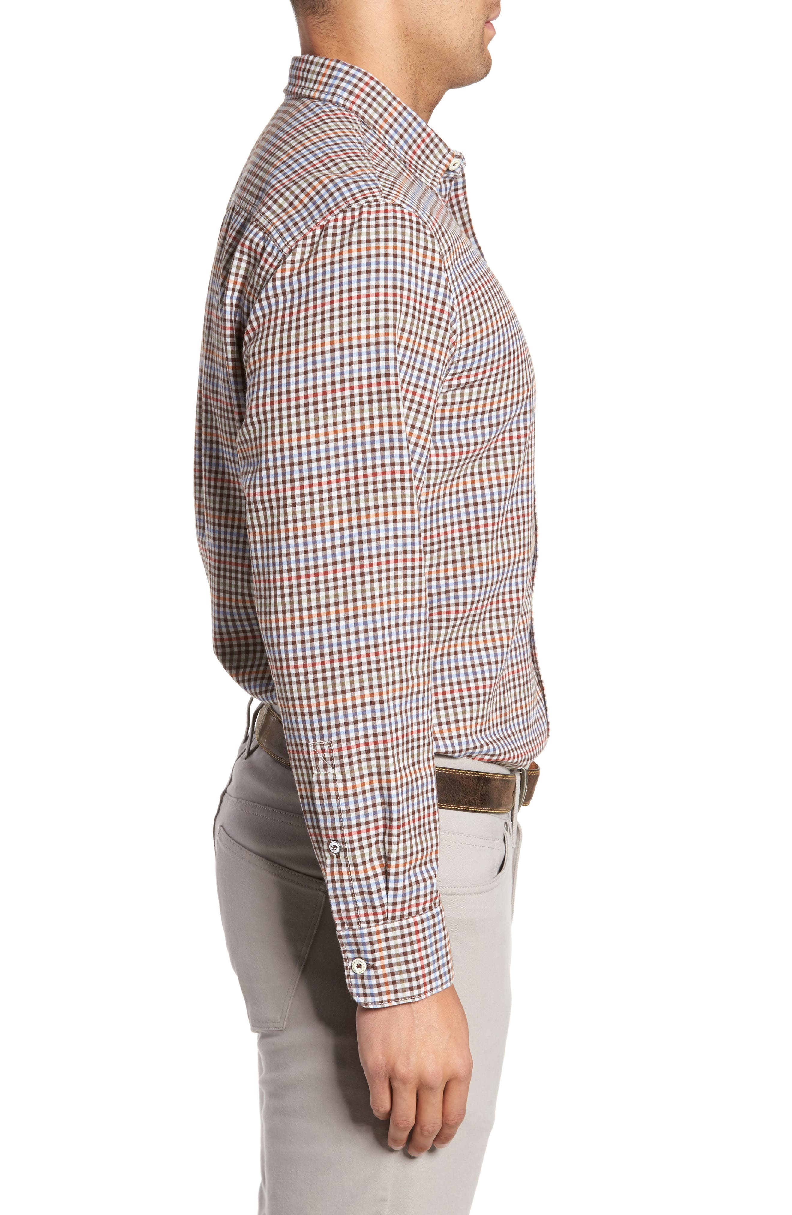 Tan Tan Regular Fit Check Sport Shirt,                             Alternate thumbnail 3, color,                             Vapor