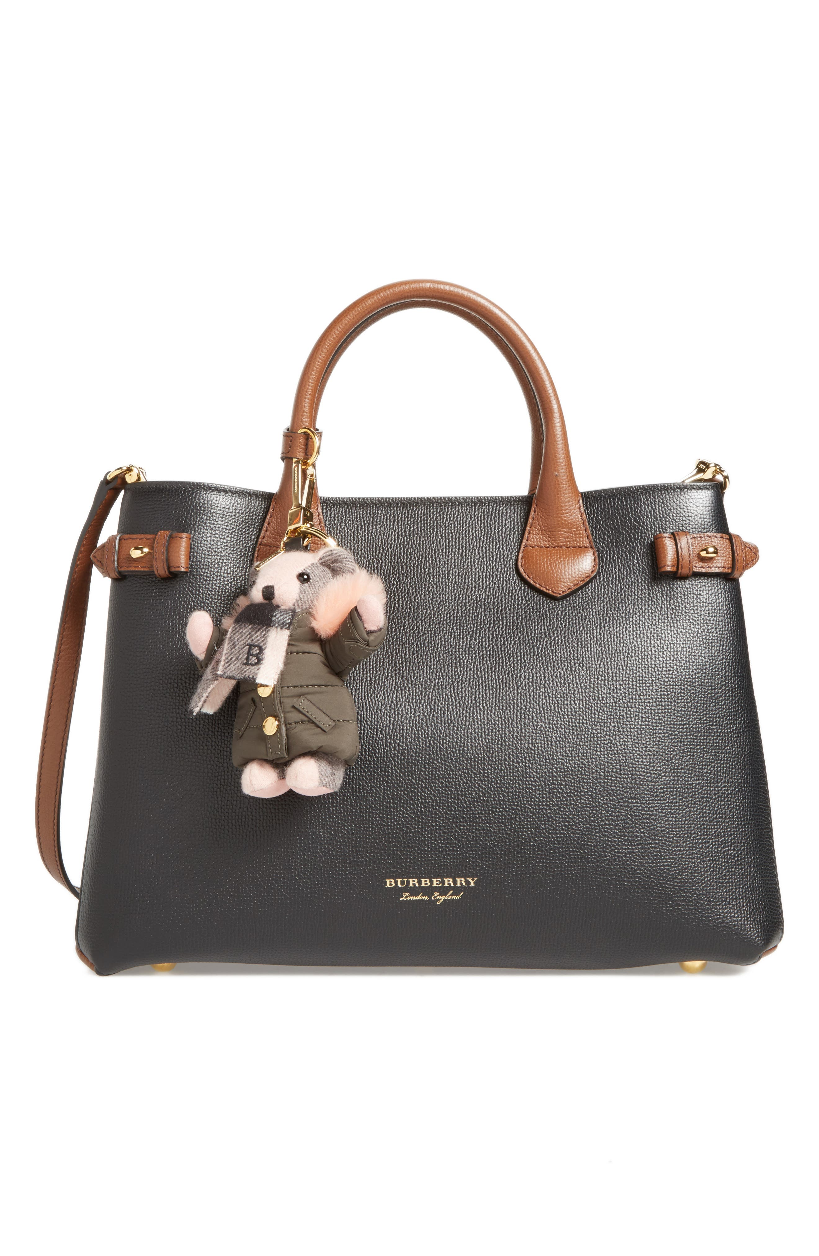 Alternate Image 2  - Burberry Thomas Bear Bag Charm with Genuine Shearling Trim Puffer Jacket & Scarf