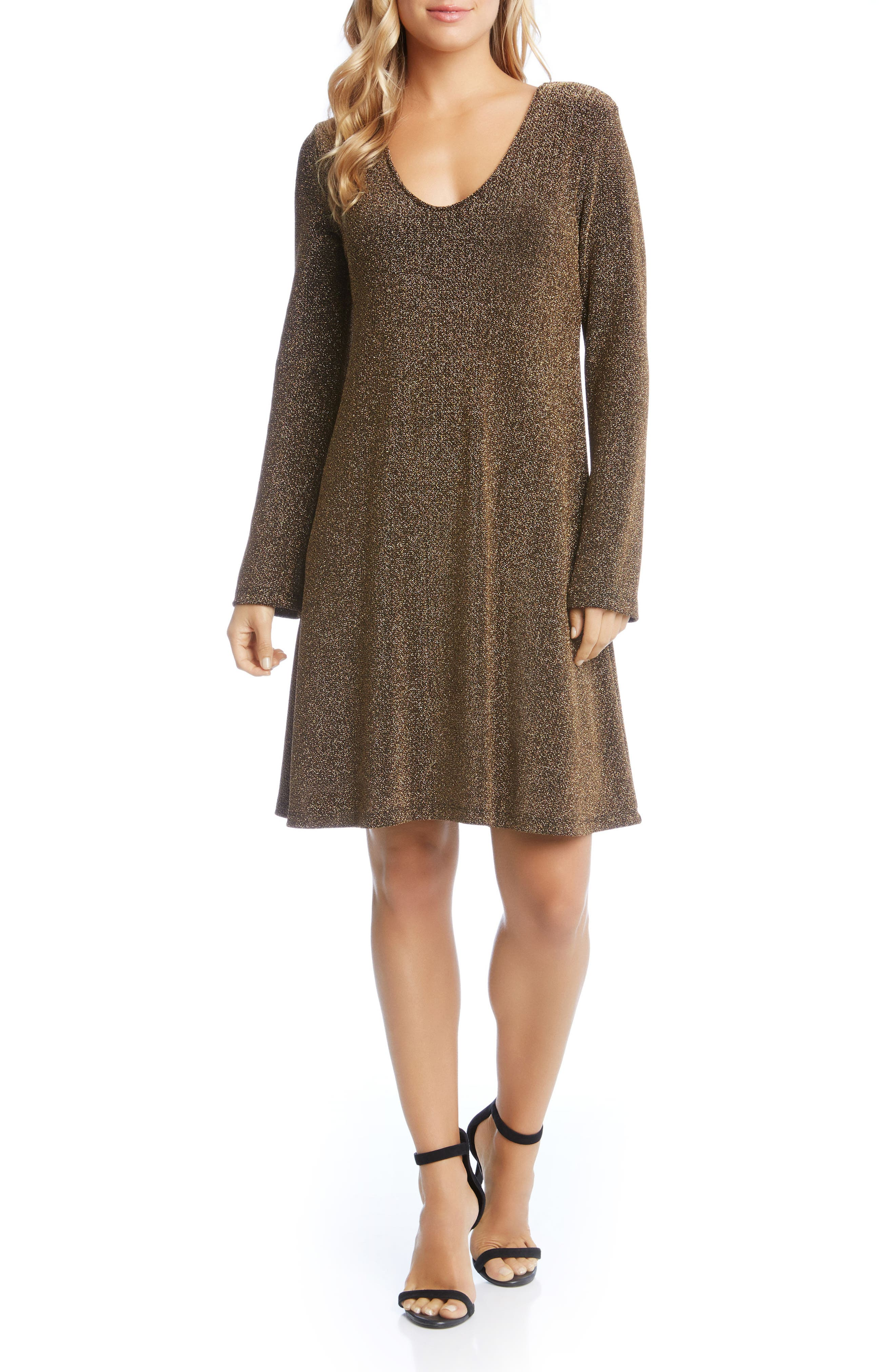 Main Image - Karen Kane Gold Knit Taylor Dress