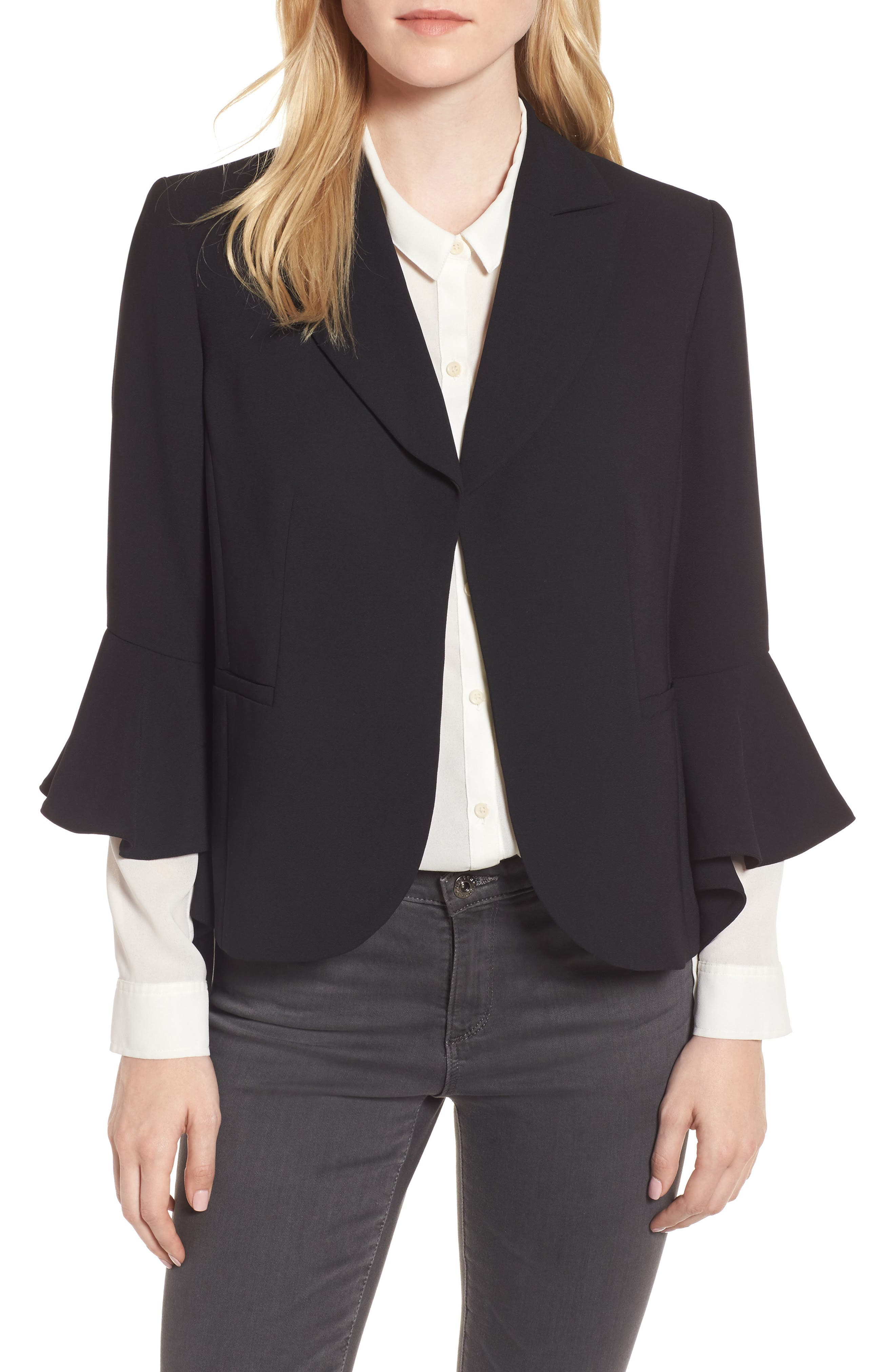 Ruffle Sleeve Blazer,                         Main,                         color, Black