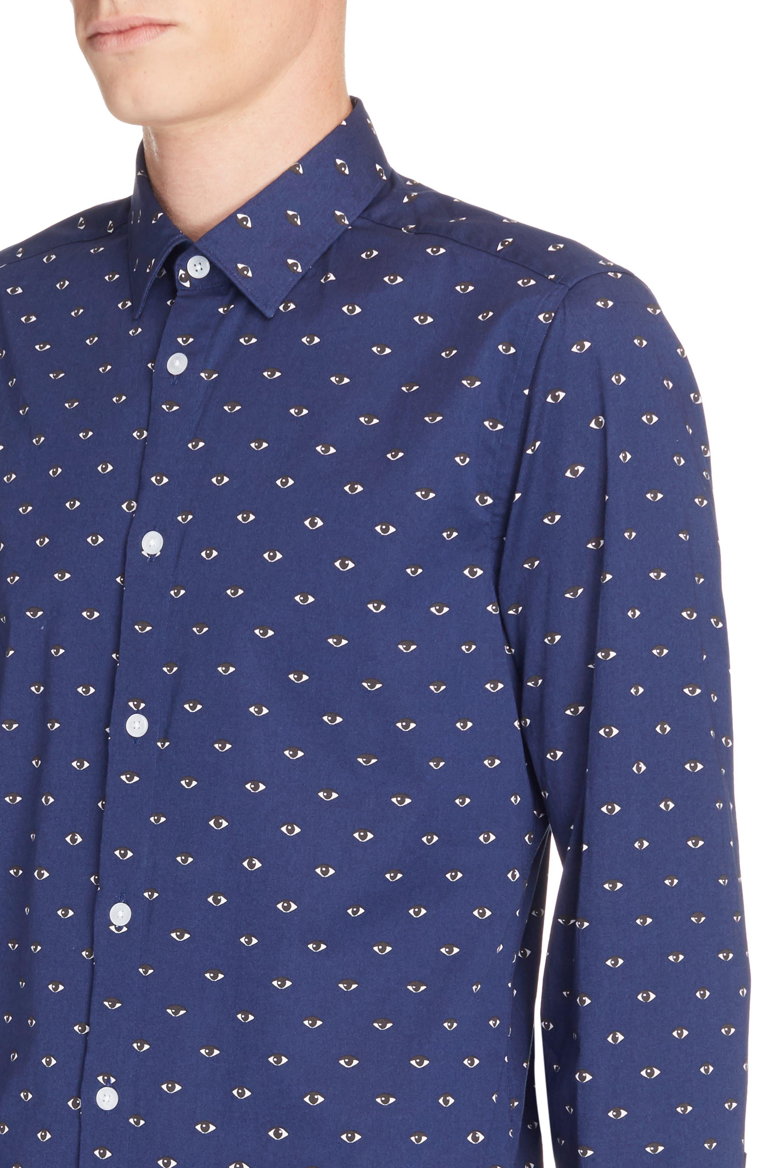 Allover Eye Print Woven Shirt,                             Alternate thumbnail 2, color,                             Navy Blue