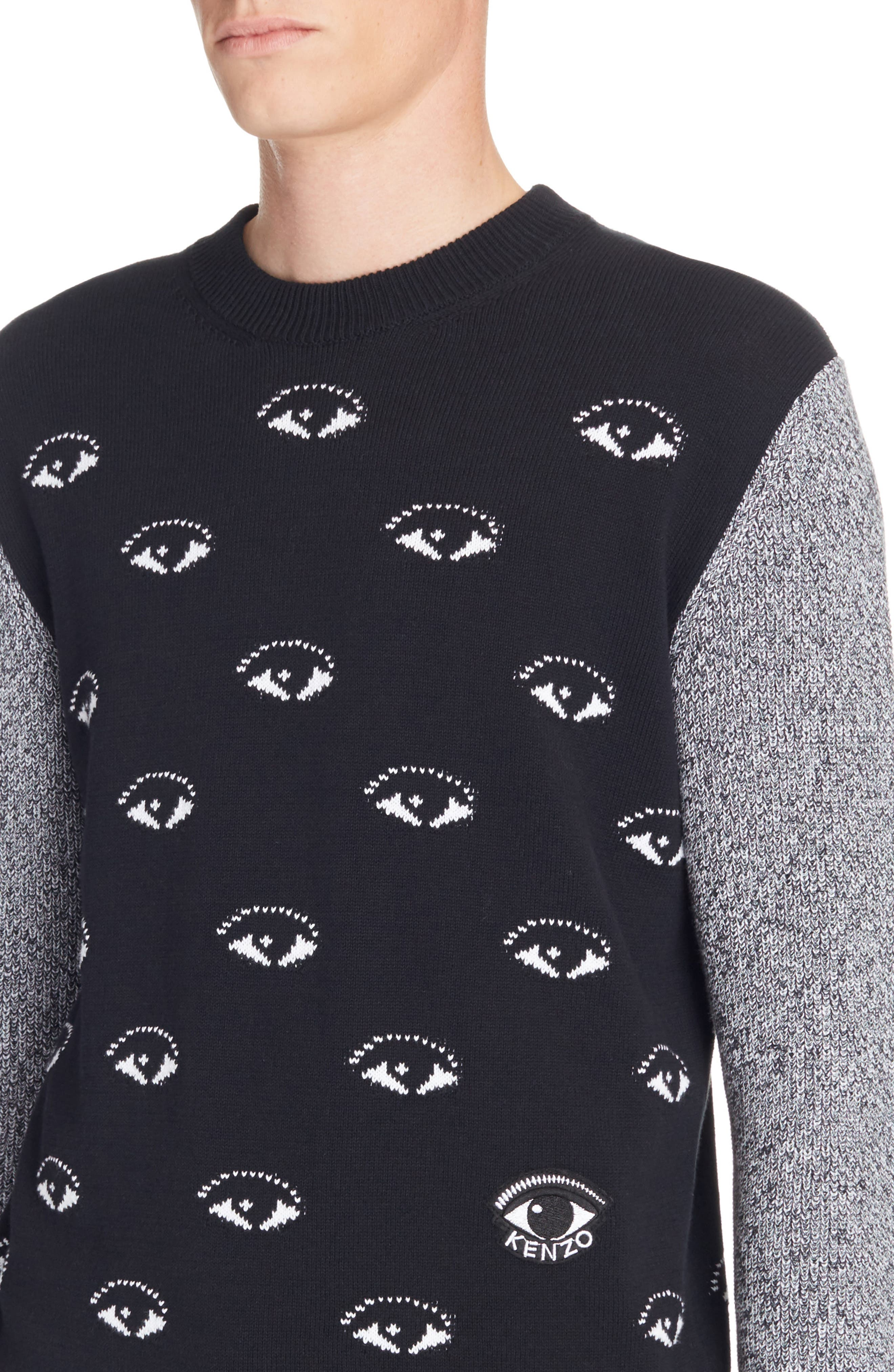 All Eyes Print Crewneck Sweater,                             Alternate thumbnail 4, color,                             Black