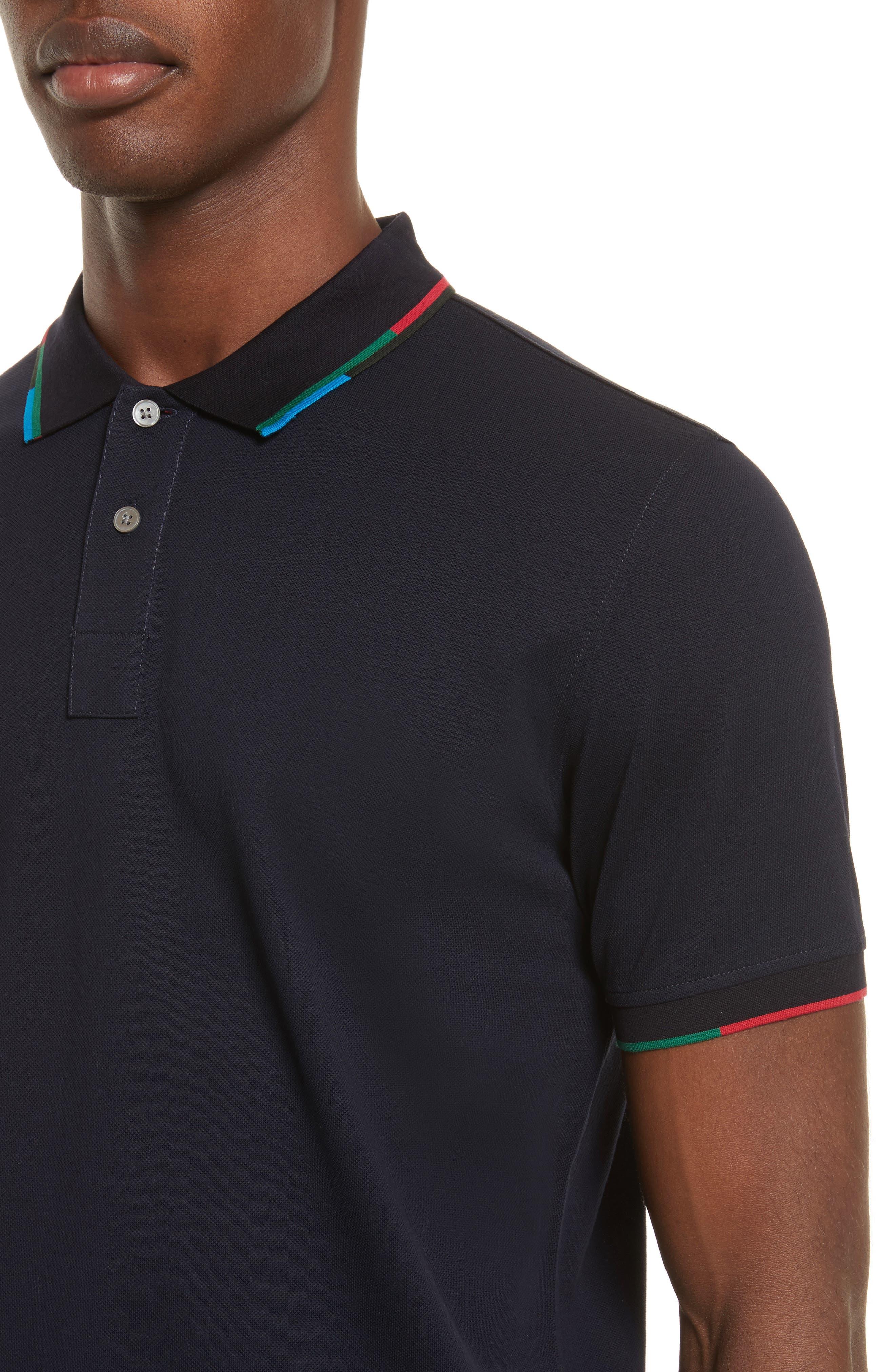 Stripe Trim Piqué Polo,                             Alternate thumbnail 4, color,                             Blue