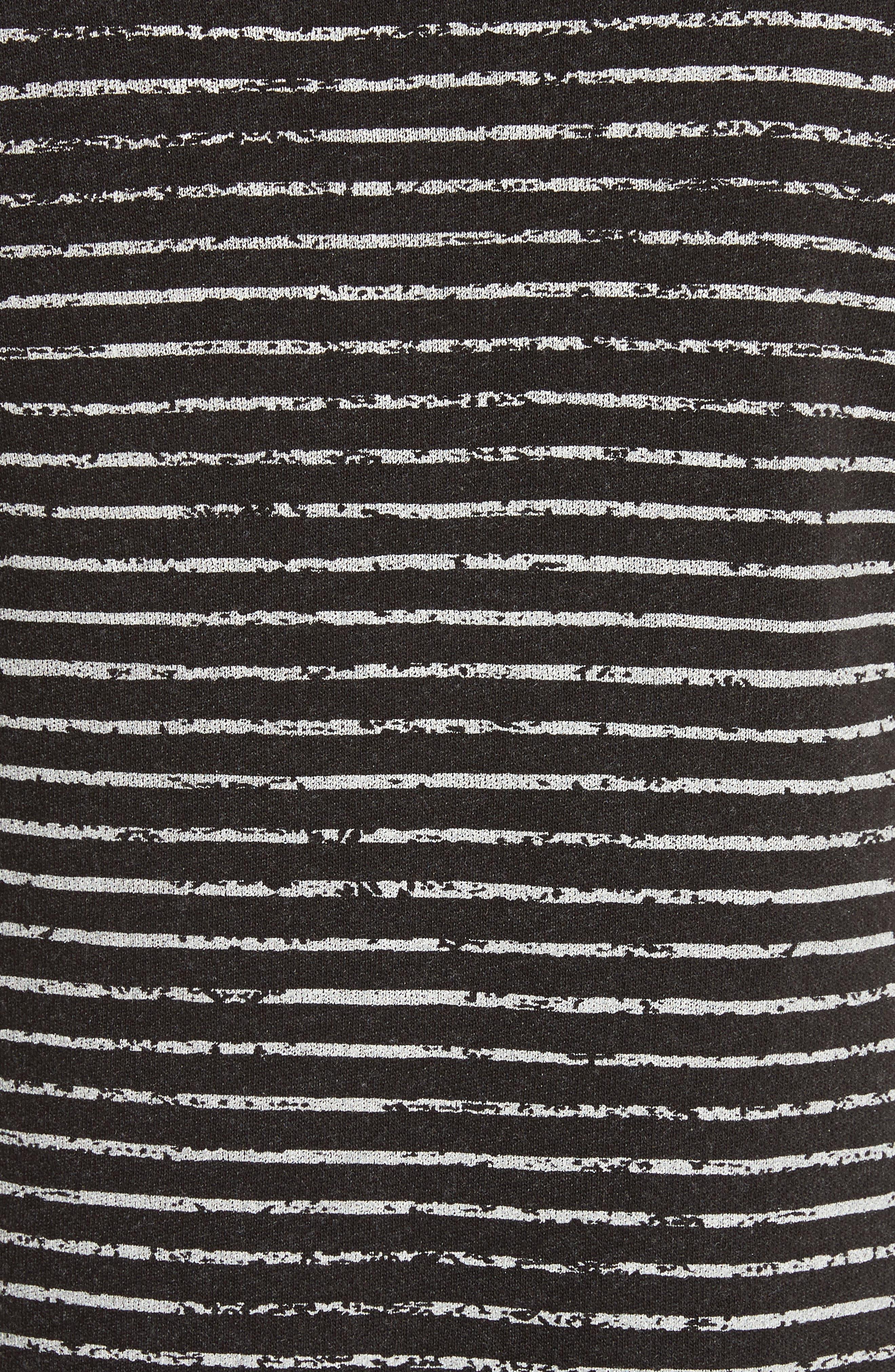 Broken Stripe French Terry Dress,                             Alternate thumbnail 5, color,                             Charcoal Combo Stripe