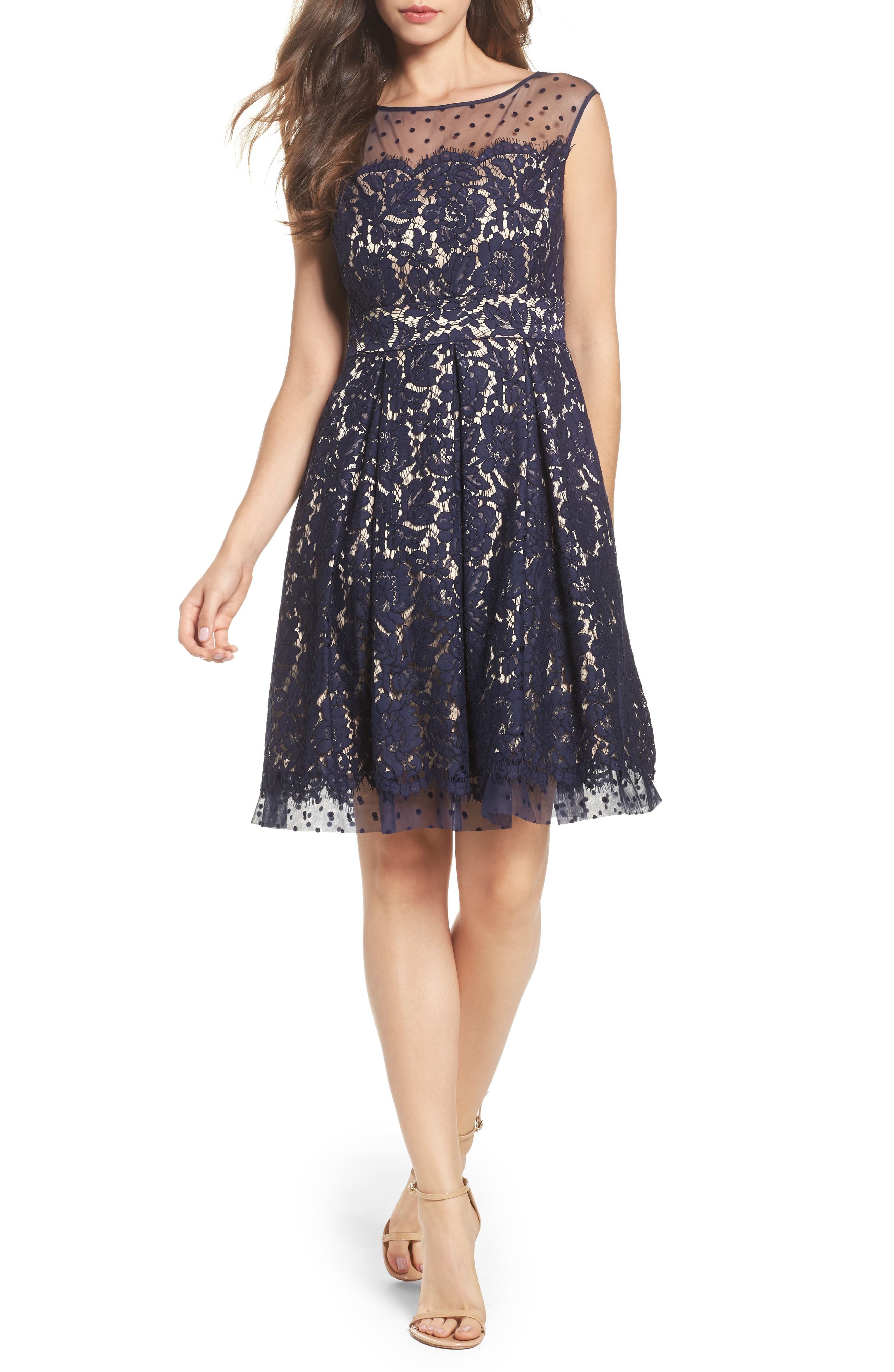 Illusion Yoke Lace Fit & Flare Dress,                         Main,                         color, Navy