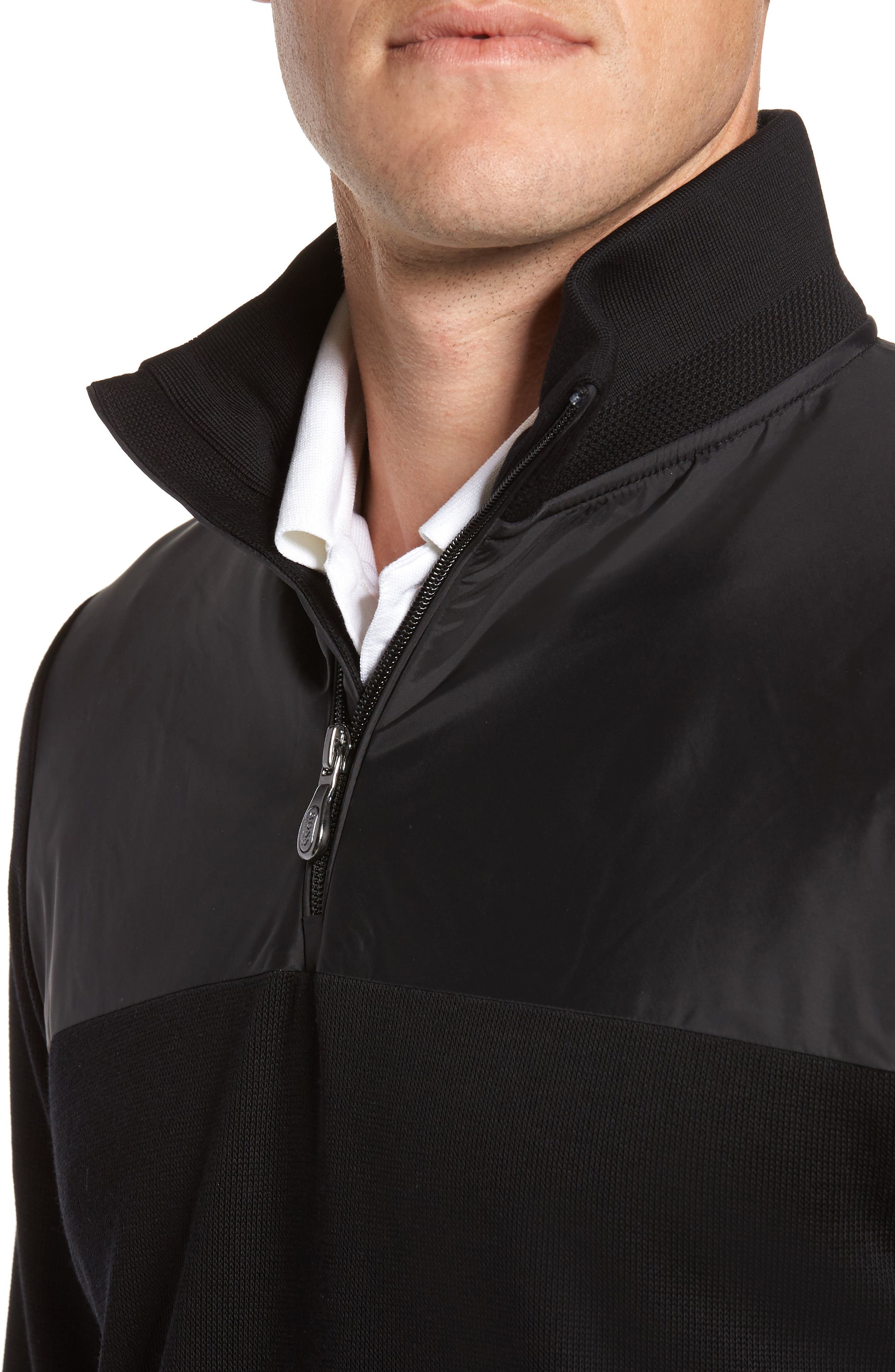 C-Piceno Quarter Zip Fleece Pullover,                             Alternate thumbnail 4, color,                             Black