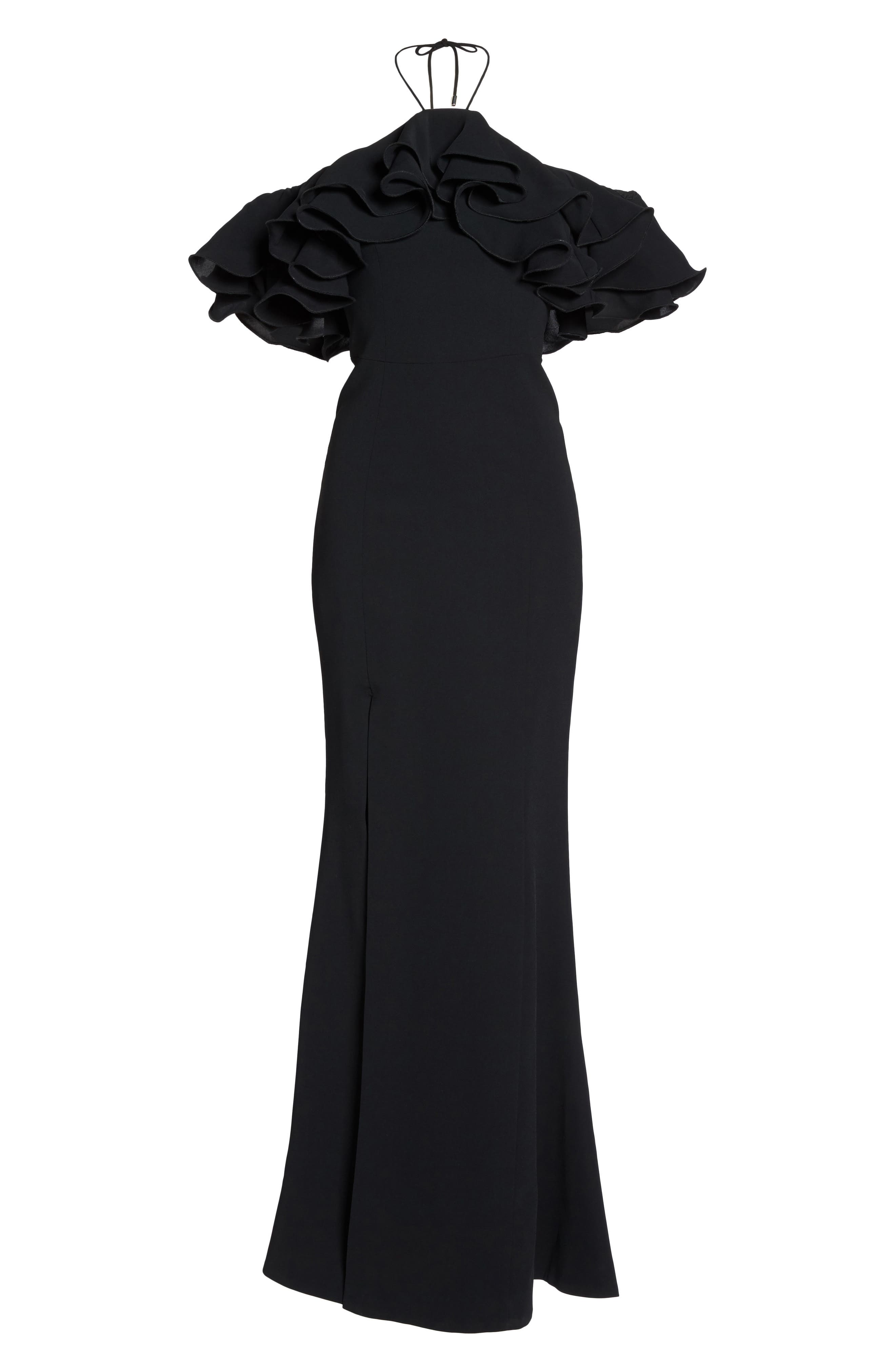 Immerse Ruffle Halter Gown,                             Alternate thumbnail 6, color,                             Black