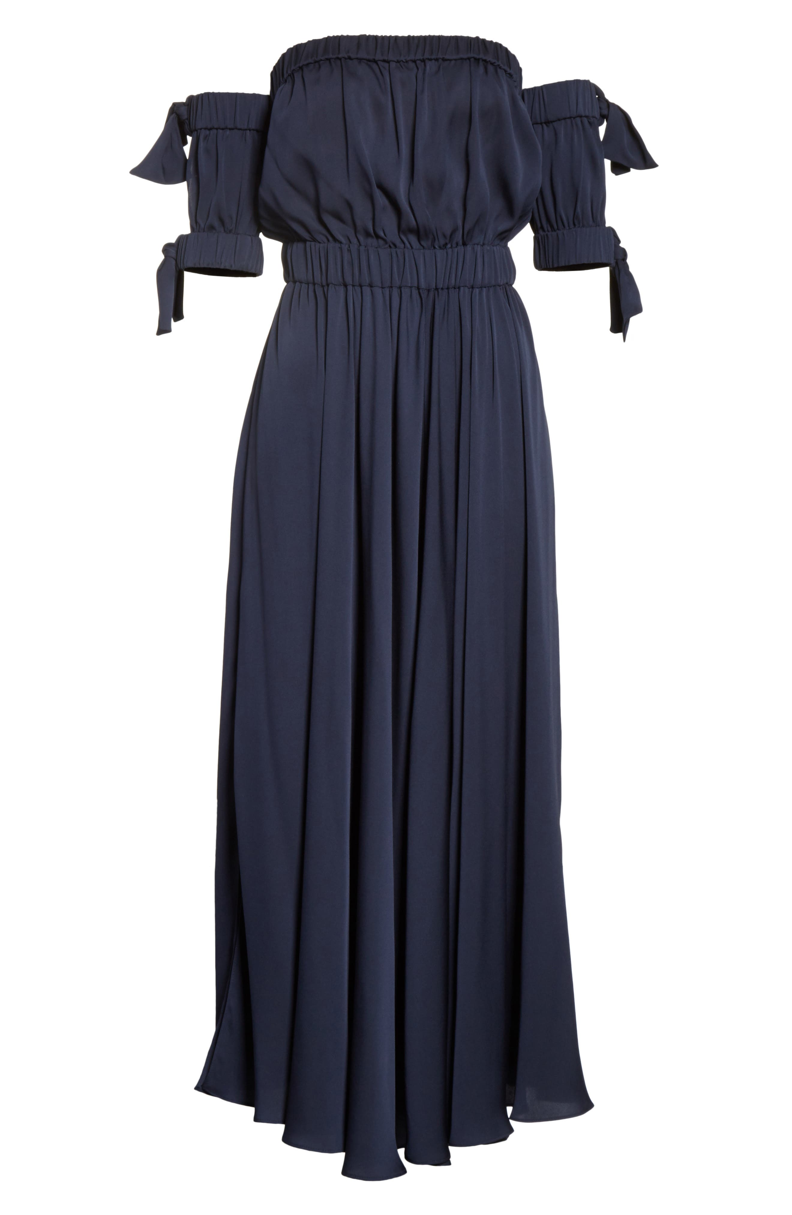 Zoey Stretch Silk Maxi Dress,                             Alternate thumbnail 6, color,                             Navy